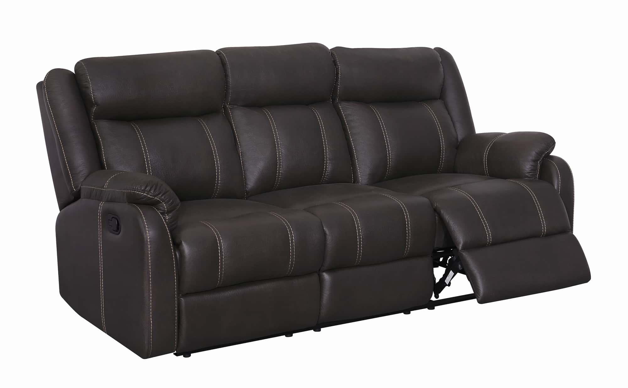 U7303c Charcoal Printed Fabric Reclining Sofa W Ddt Amp Dr