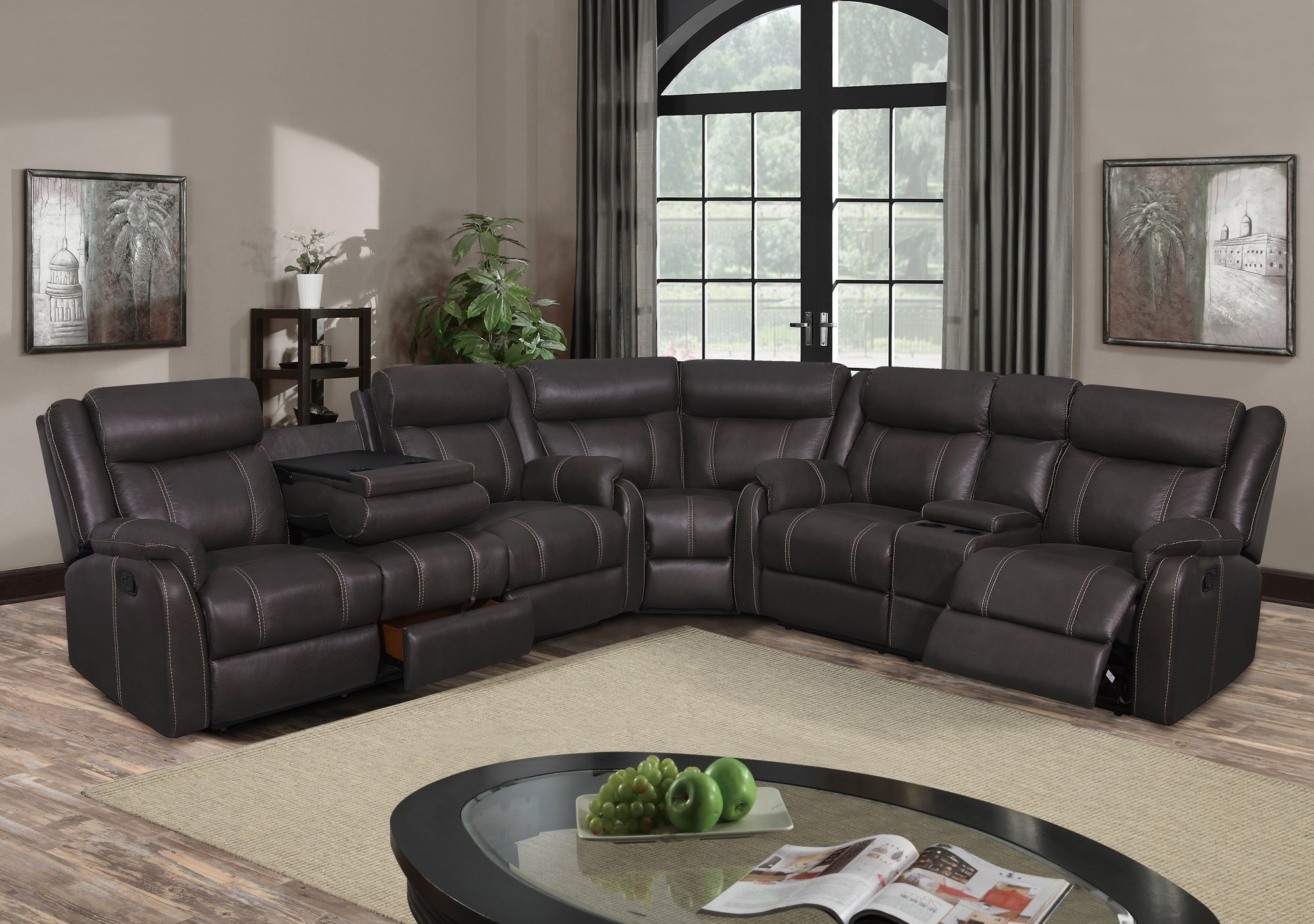 U7303C Charcoal Printed Fabric Sectional Sofa by Global Furniture