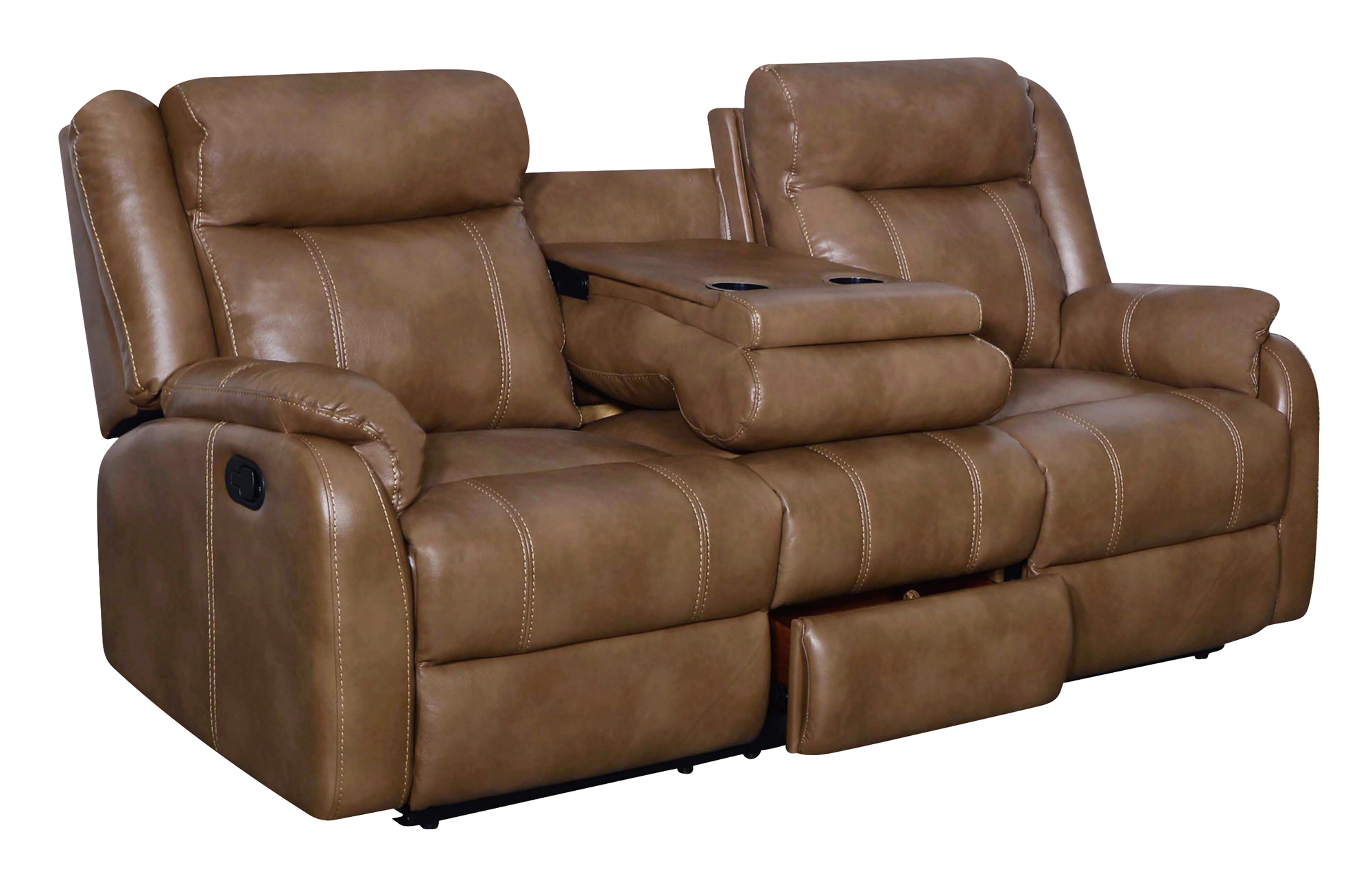 u7303c walnut leather gel reclining sofa w ddt dr by global furniture. Black Bedroom Furniture Sets. Home Design Ideas