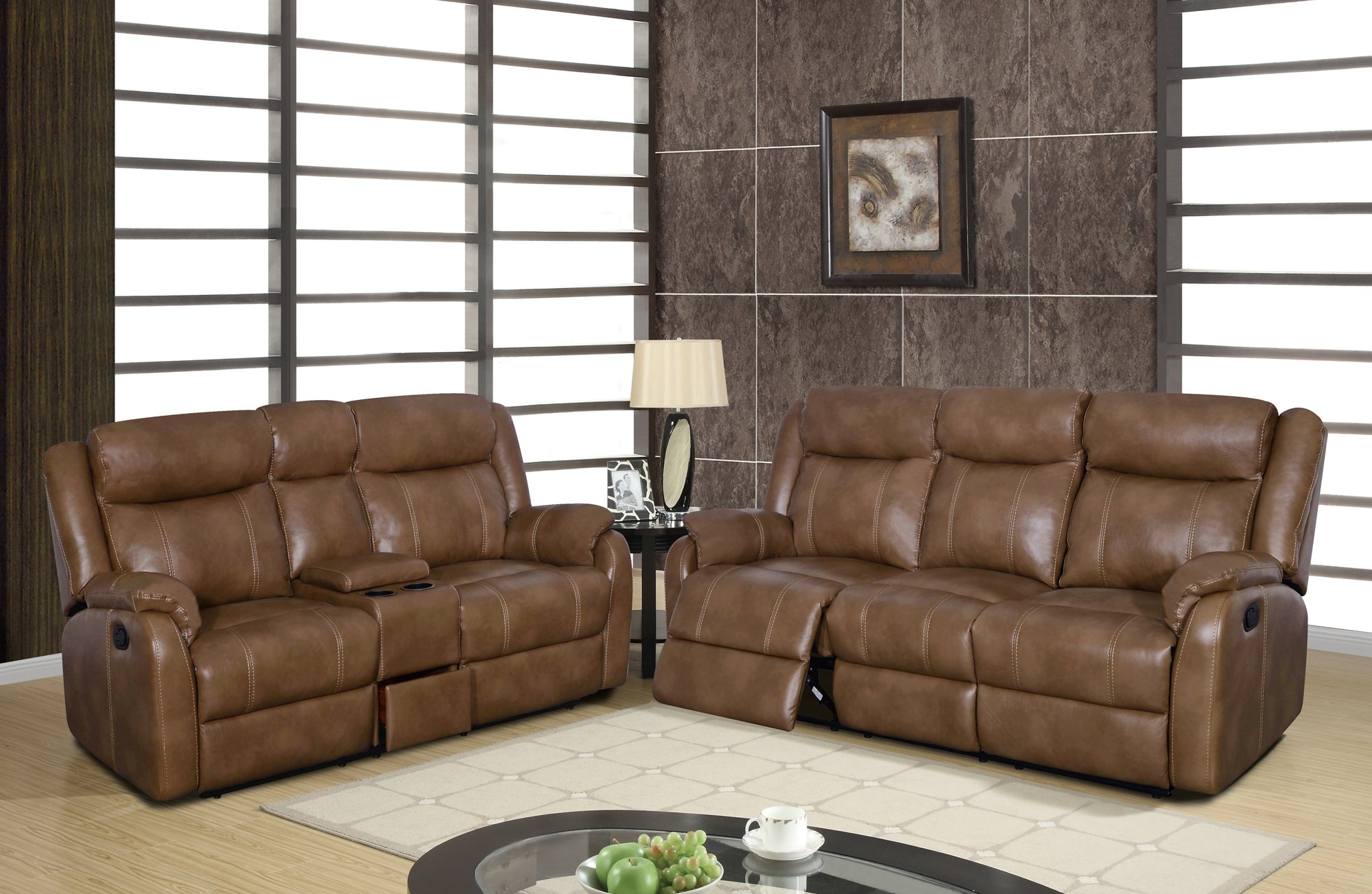 Walnut Living Room Furniture U7303c Walnut Leather Gel Console Loveseat W Drawer By Global