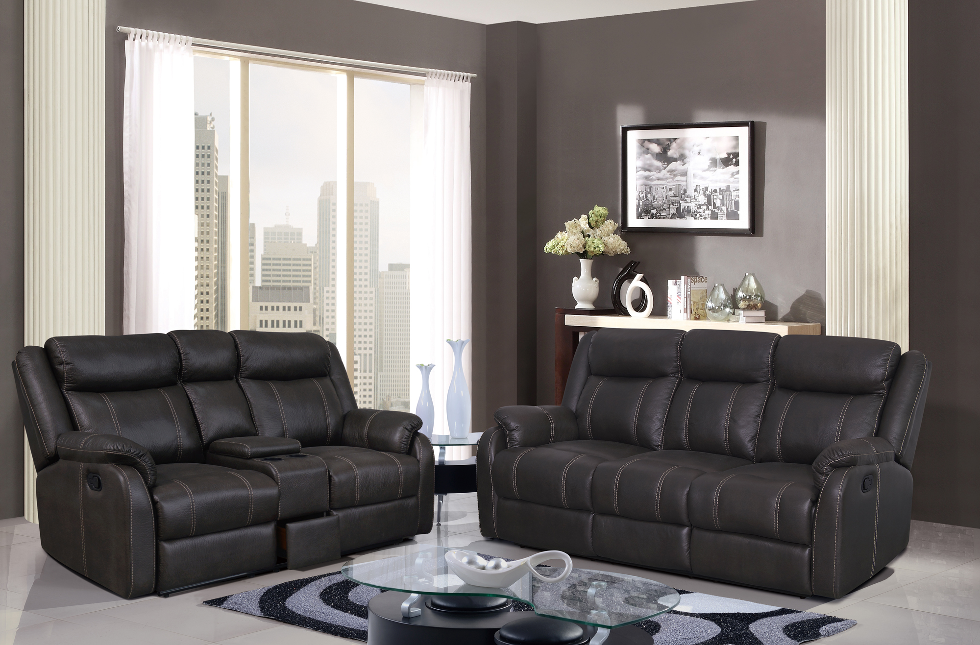 U7303C Charcoal Printed Fabric Reclining Sofa w DDT & DR by Global