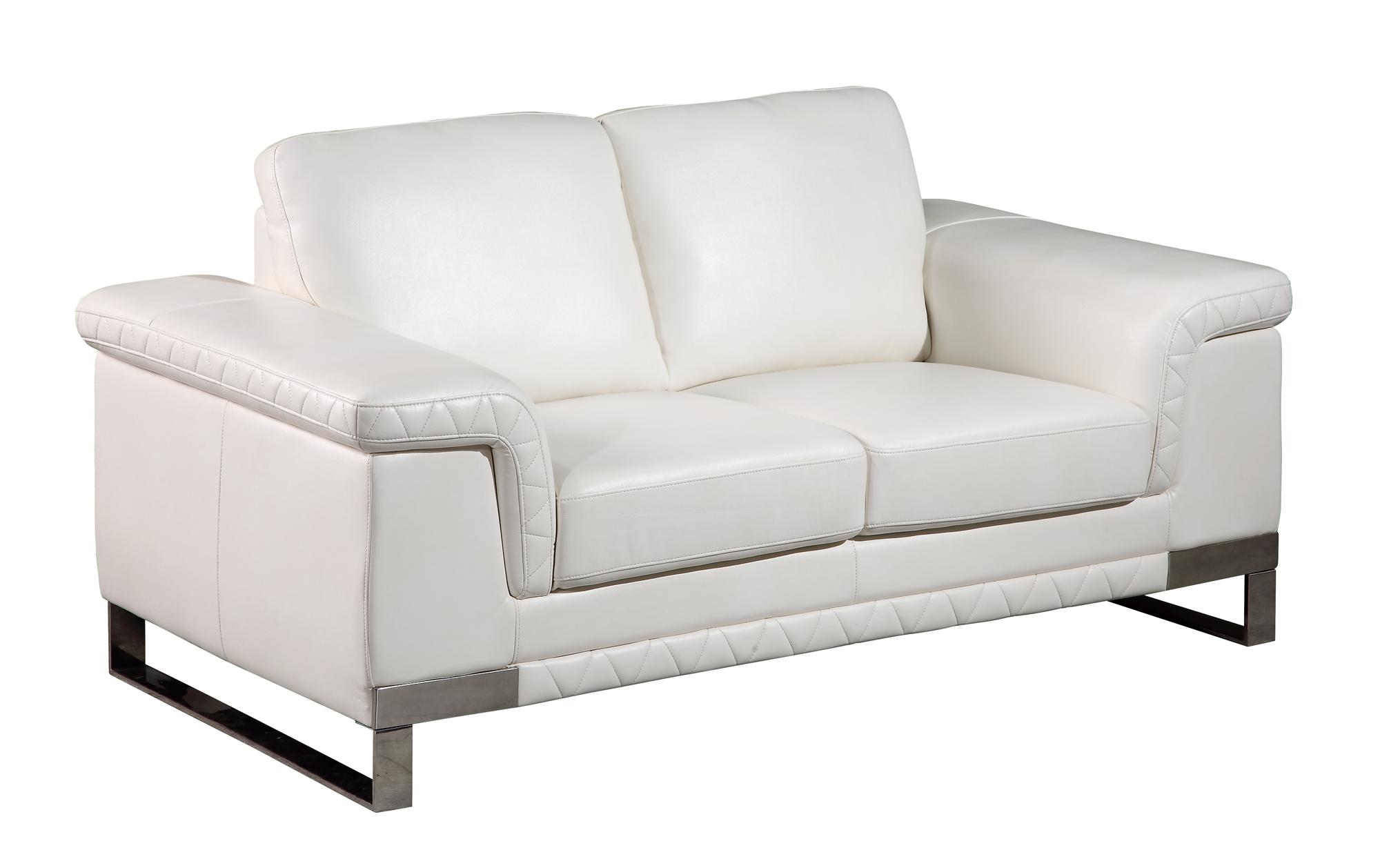 u white leather gel loveseat by global furniture -