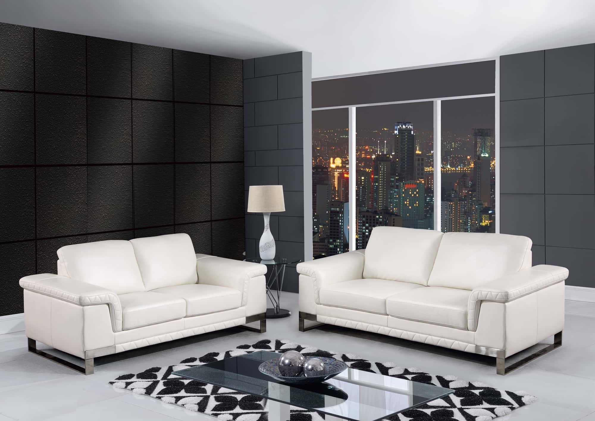 U7660 White Leather Gel Sofa by Global Furniture