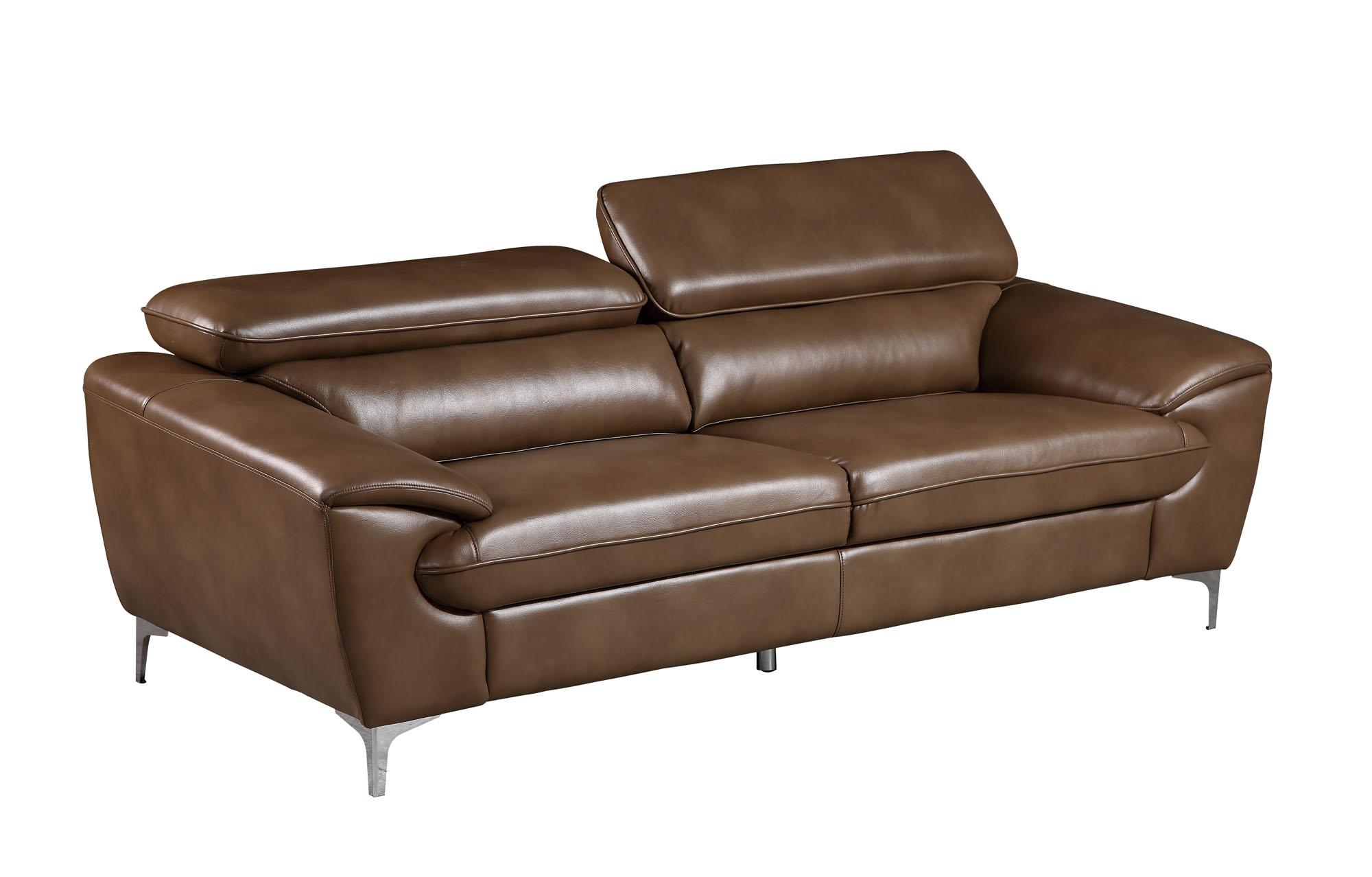 U7870 Walnut Leather Gel Sofa by Global Furniture