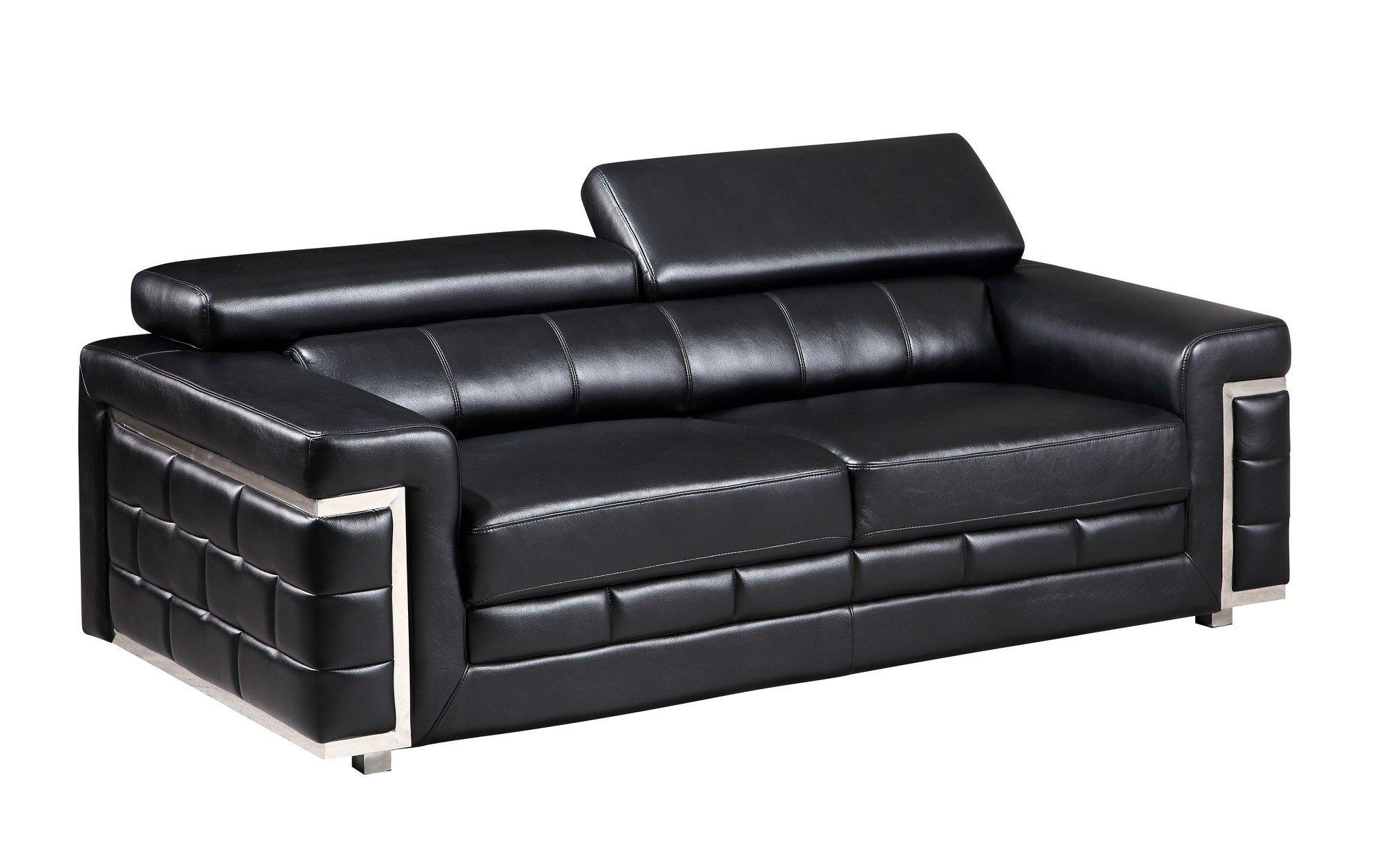 U7940 Black Leather Gel Sofa by Global Furniture