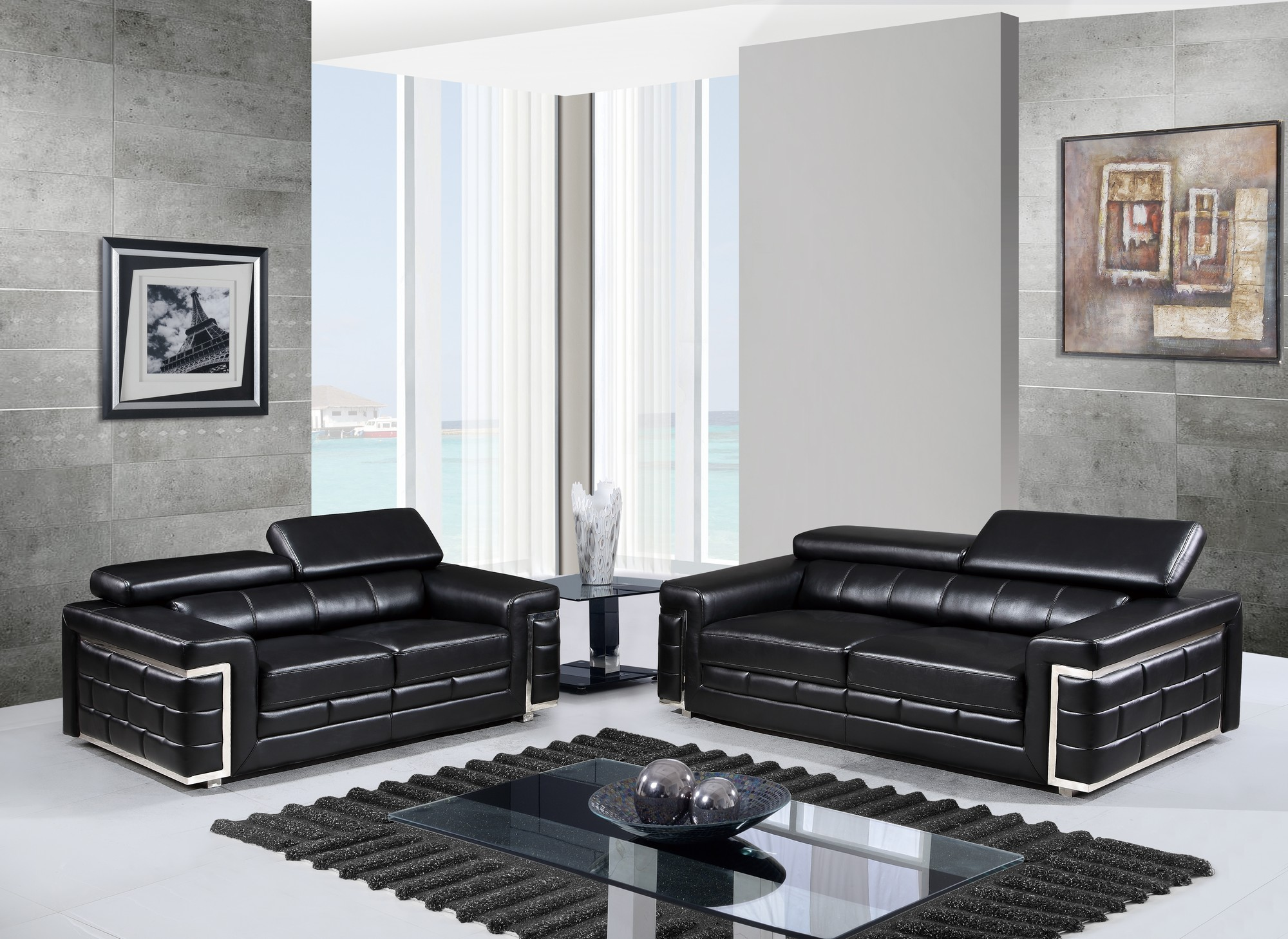 U7940 Black Leather Gel Sofa by Global Furniture