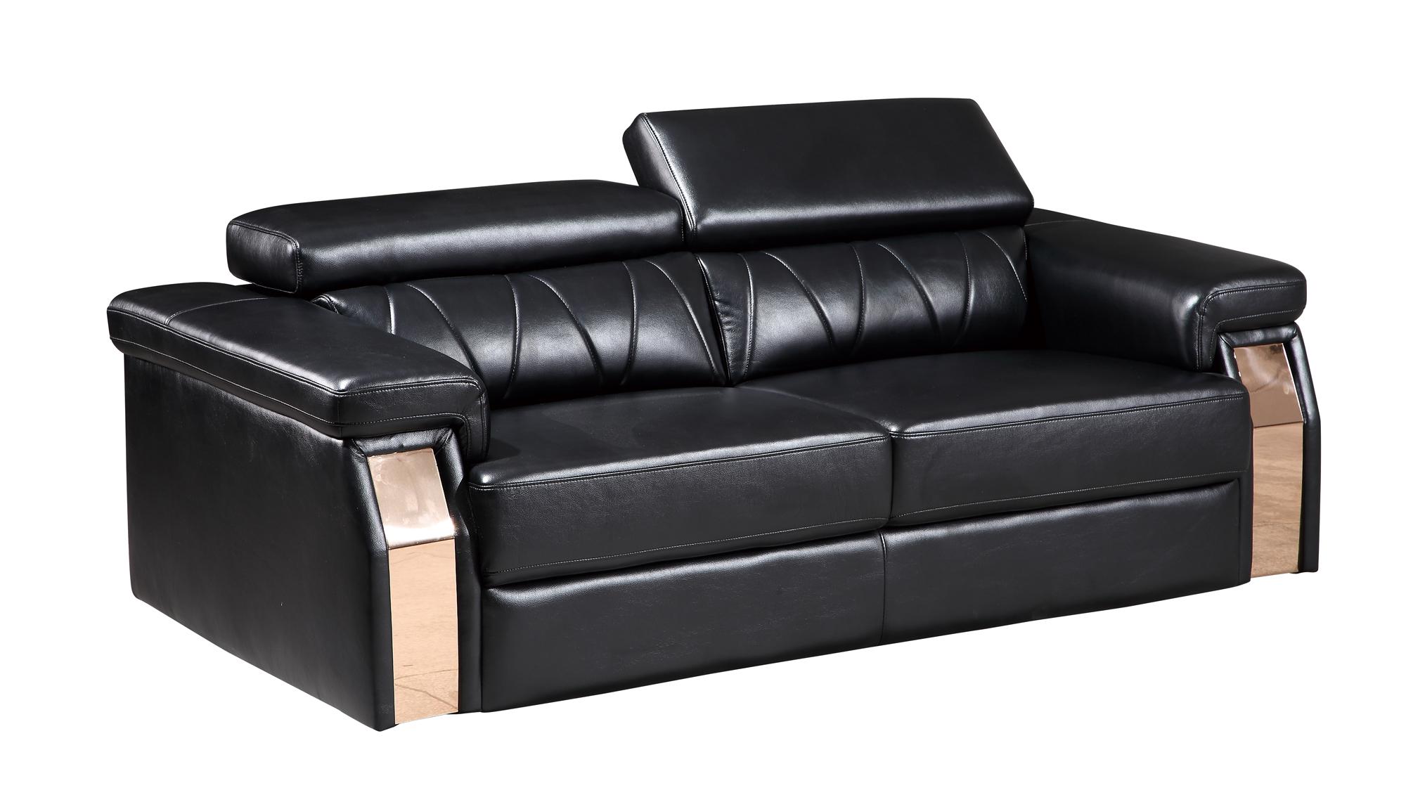 U8012 Black Leather Gel Sofa by Global Furniture