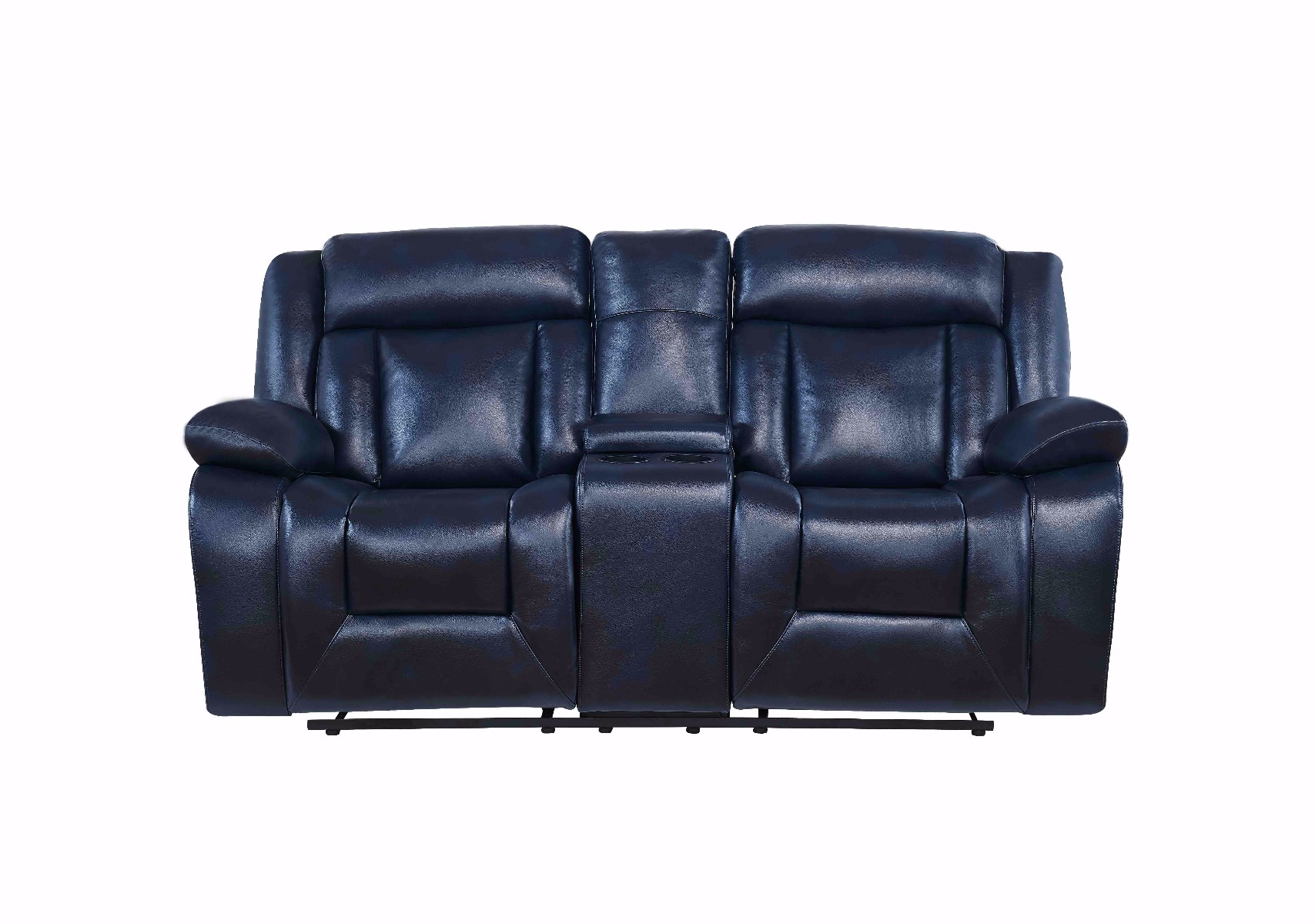 Pleasant U8036 Blue Leather Gel Console Reclining Loveseat By Global Furniture Andrewgaddart Wooden Chair Designs For Living Room Andrewgaddartcom
