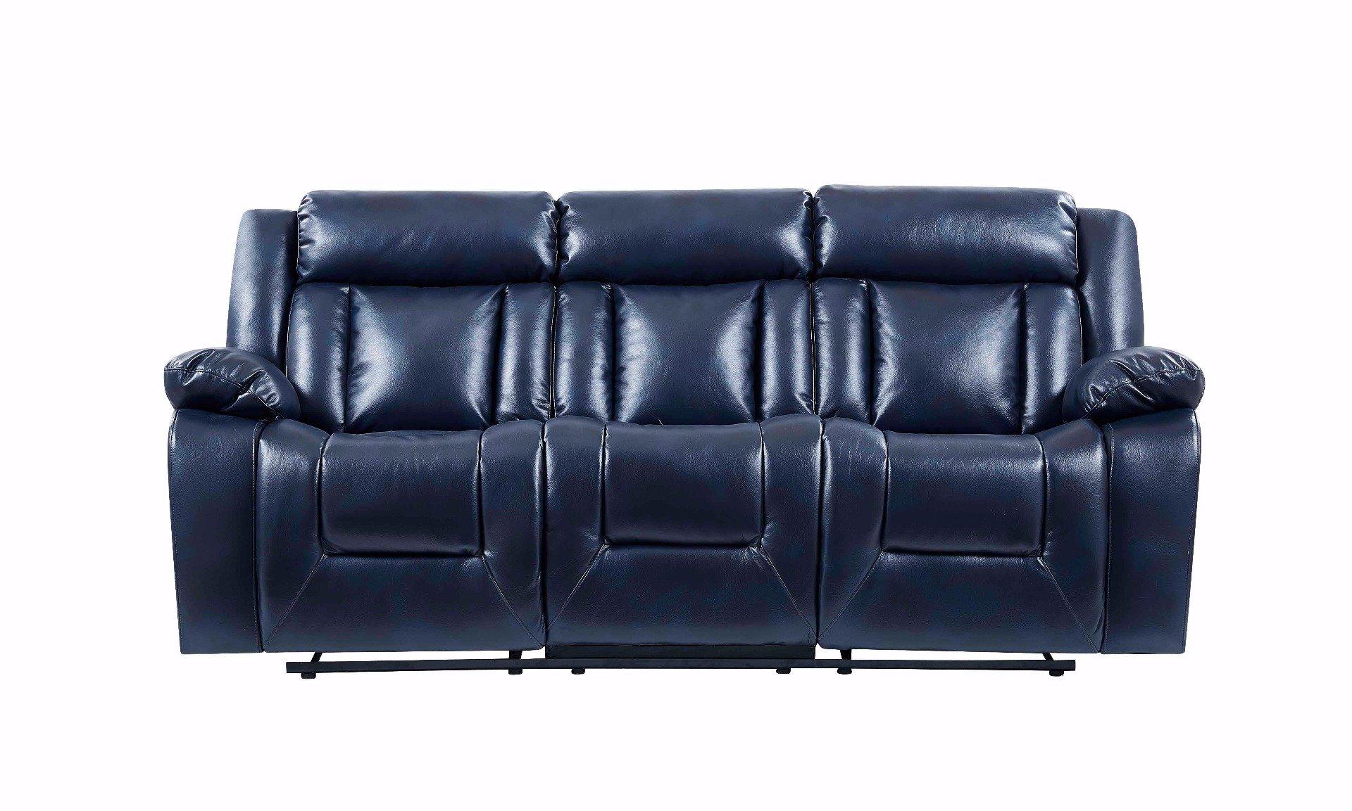 Nice U8036 Blue Leather Gel Reclining Sofa