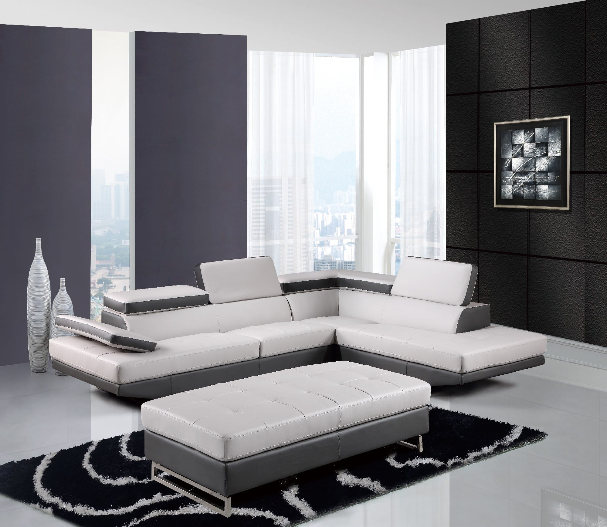 U8137N Light Grey Bonded Sectional Sofa By Global Furniture