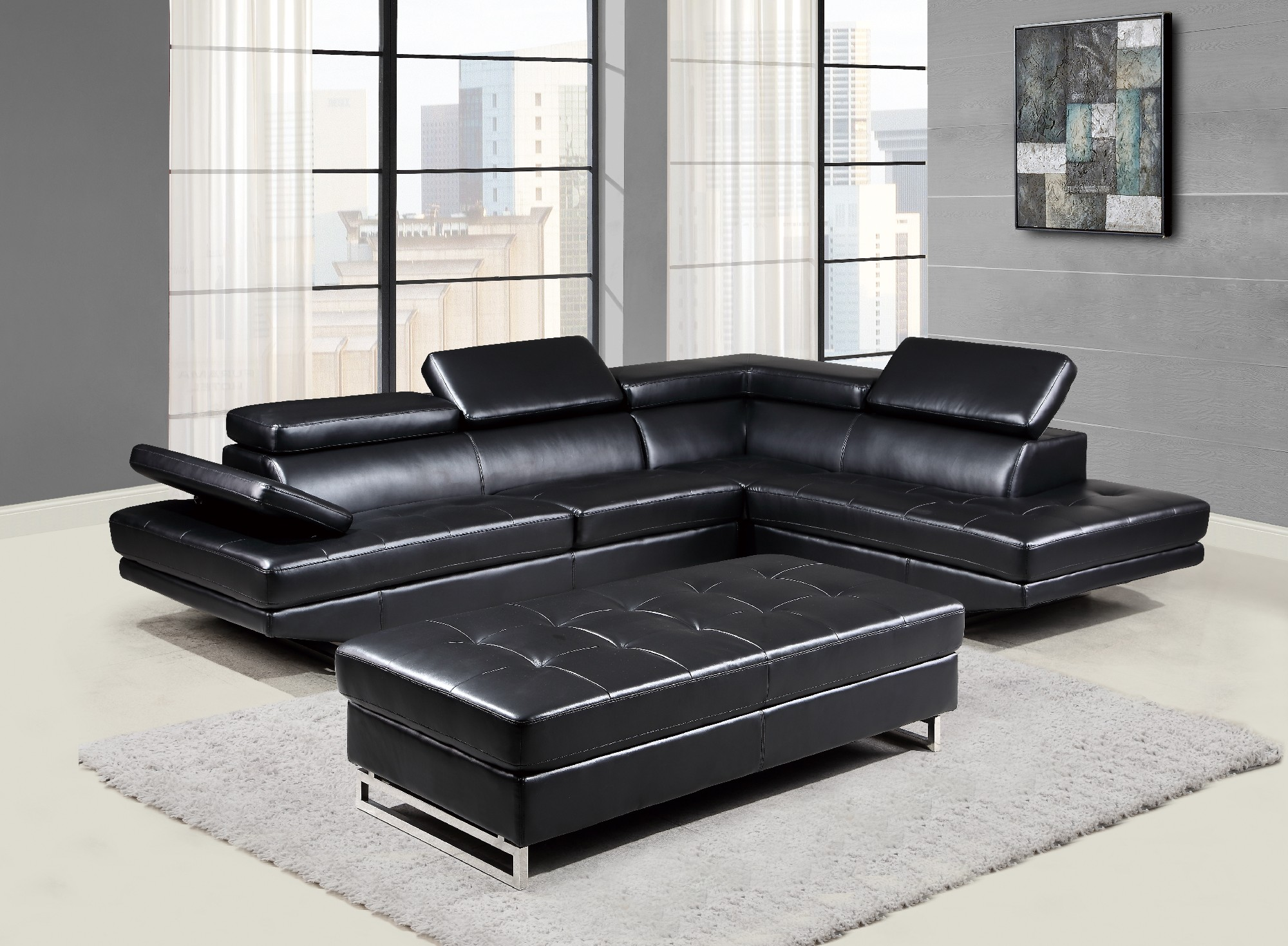 Awe Inspiring U8138 Black Bonded Sectional Sofa By Global Furniture Uwap Interior Chair Design Uwaporg