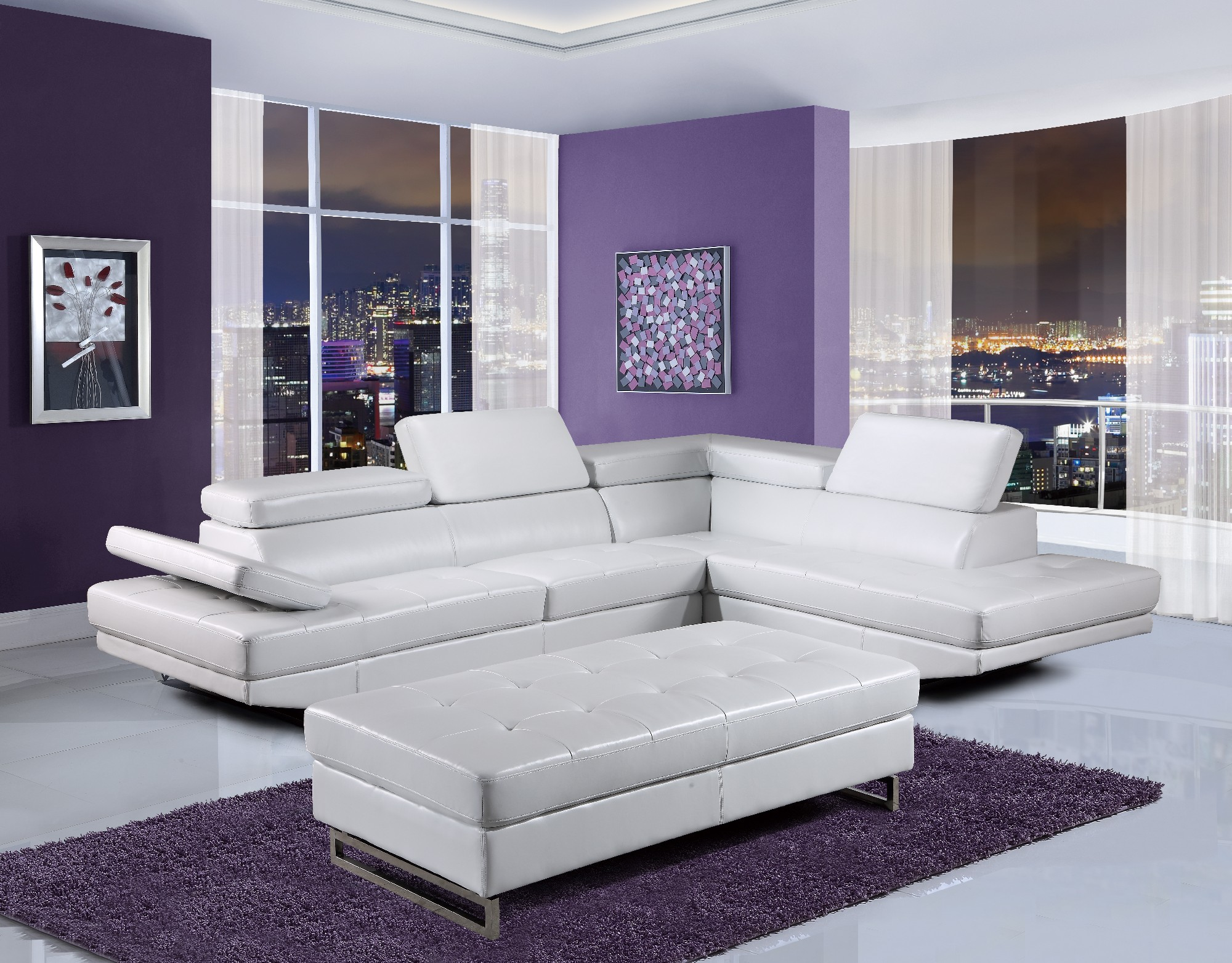 U8138 White Bonded Sectional Sofa By Global Furniture