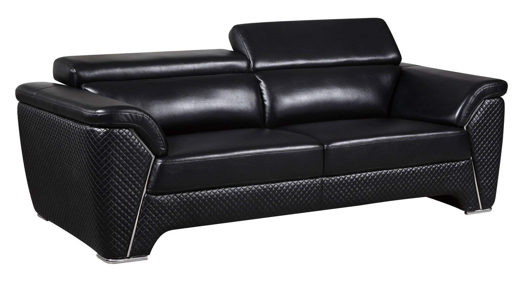 U8190 Black Leather Gel Sofa By Global Furniture: loveseat black