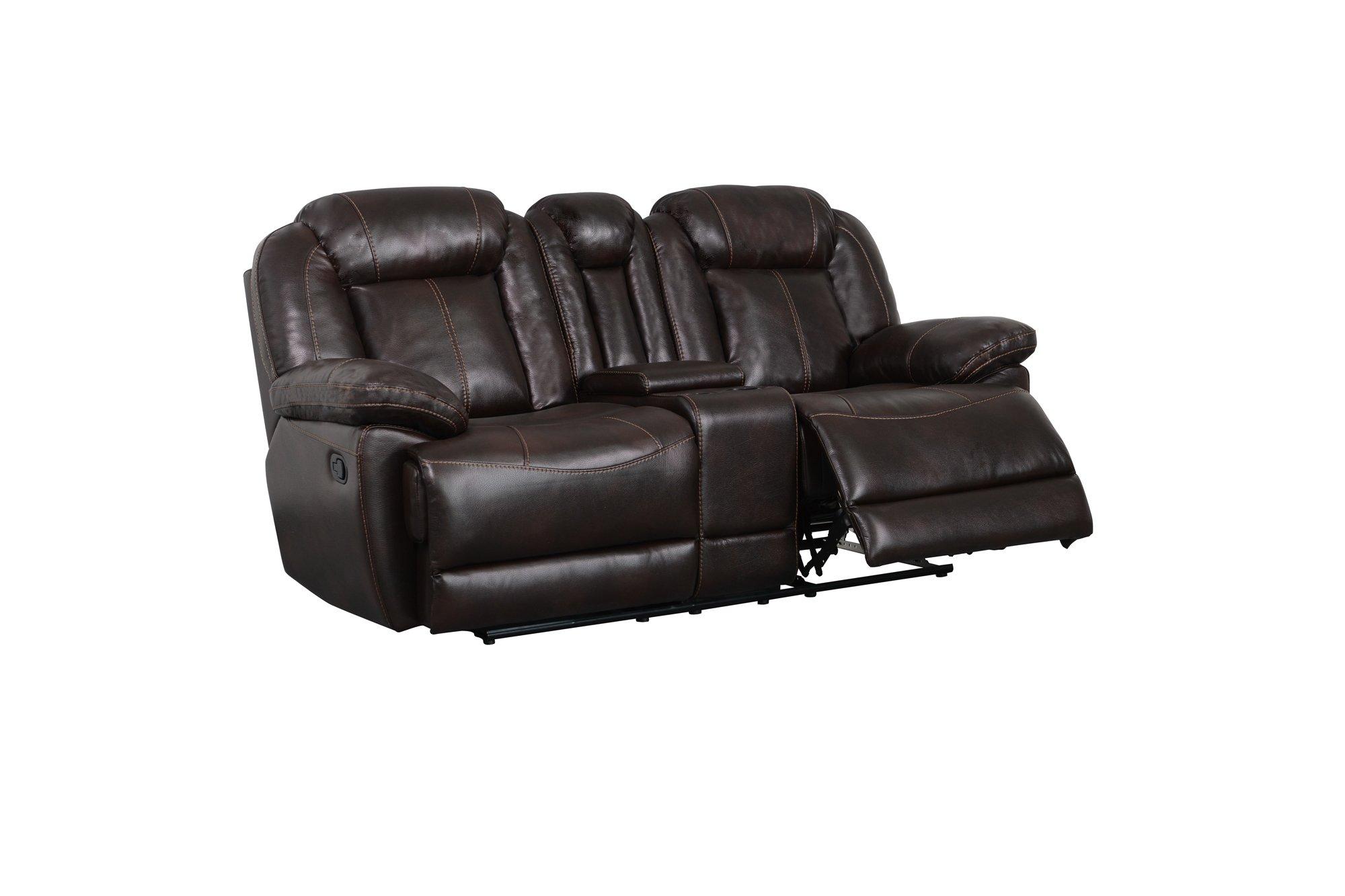 Astonishing U8304 Brown Leather Air Console Reclining Loveseat By Global Furniture Frankydiablos Diy Chair Ideas Frankydiabloscom