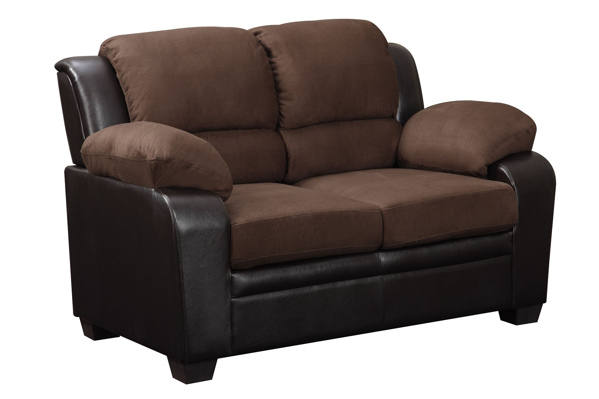 U880018kd chocolate microfiber loveseat by global furniture Brown microfiber couch and loveseat