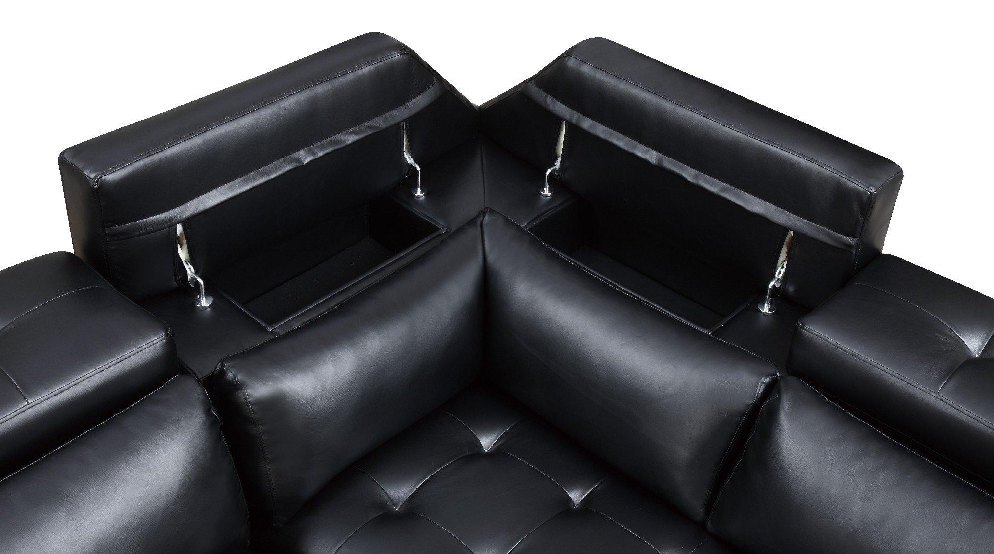 U8859 Black PU Sectional Sofa by Global Furniture
