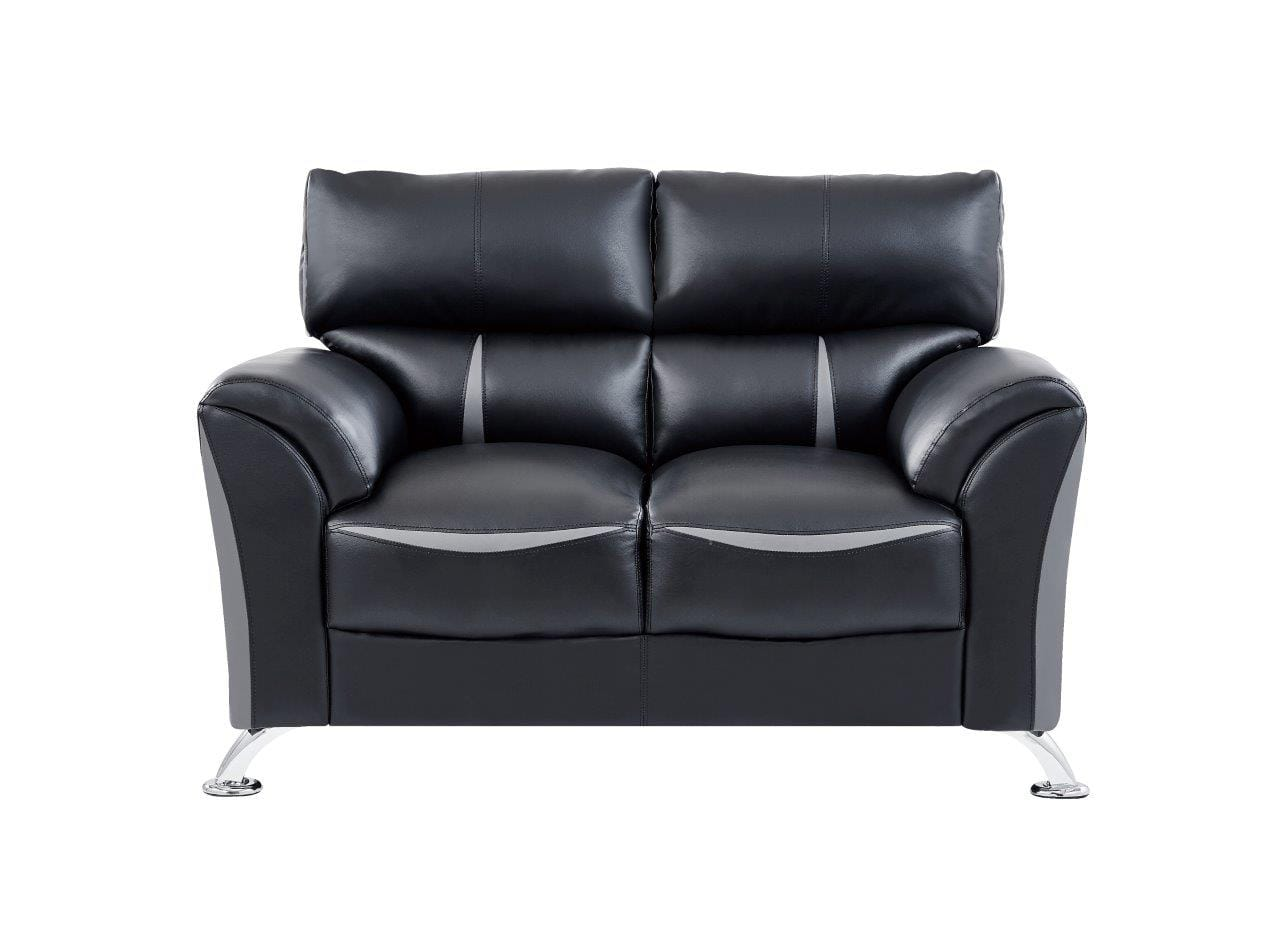 Wondrous U9100 Black Dark Gray Leather Loveseat By Global Furniture Alphanode Cool Chair Designs And Ideas Alphanodeonline