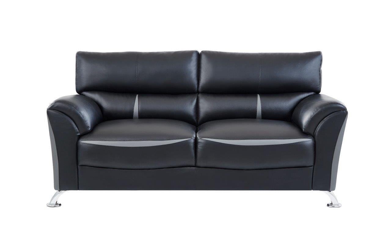 U9100 Black/Dark Gray Leather Sofa