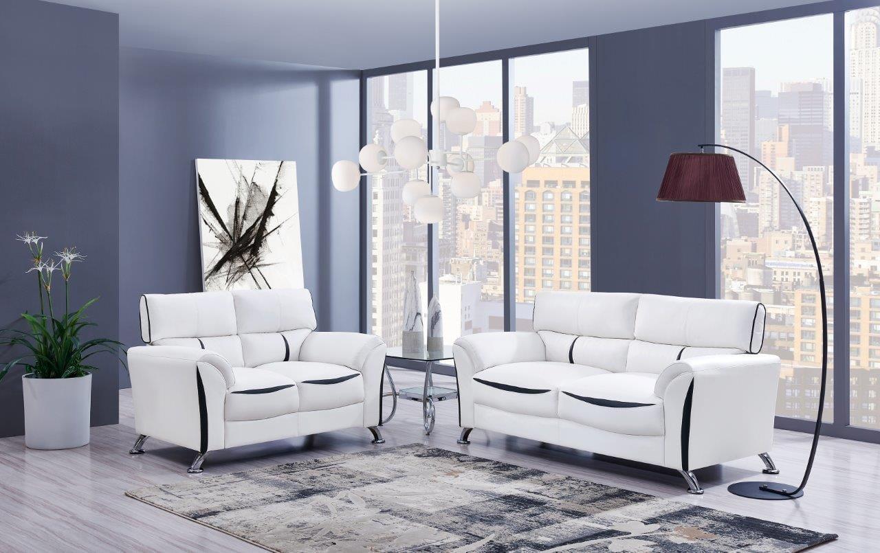 U9100 White Black Leather Loveseat By Global Furniture