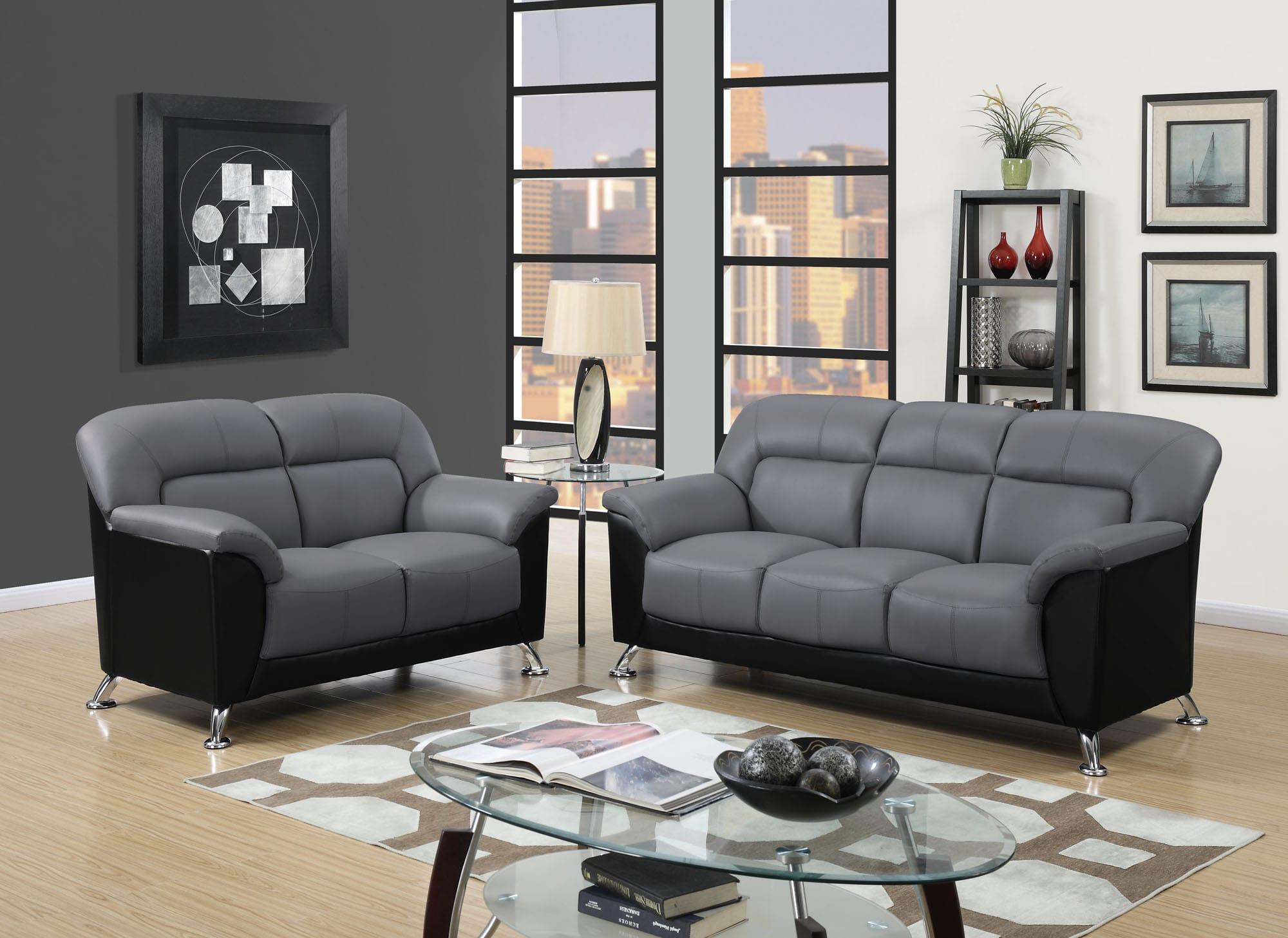 U9102 Dark Grey Black Vinyl Sofa by Global Furniture