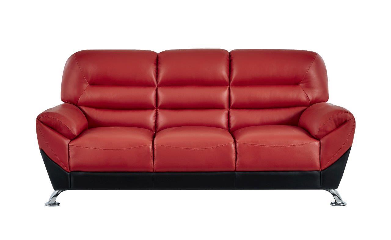 U9105 Red Black Leather Sofa By Global Furniture