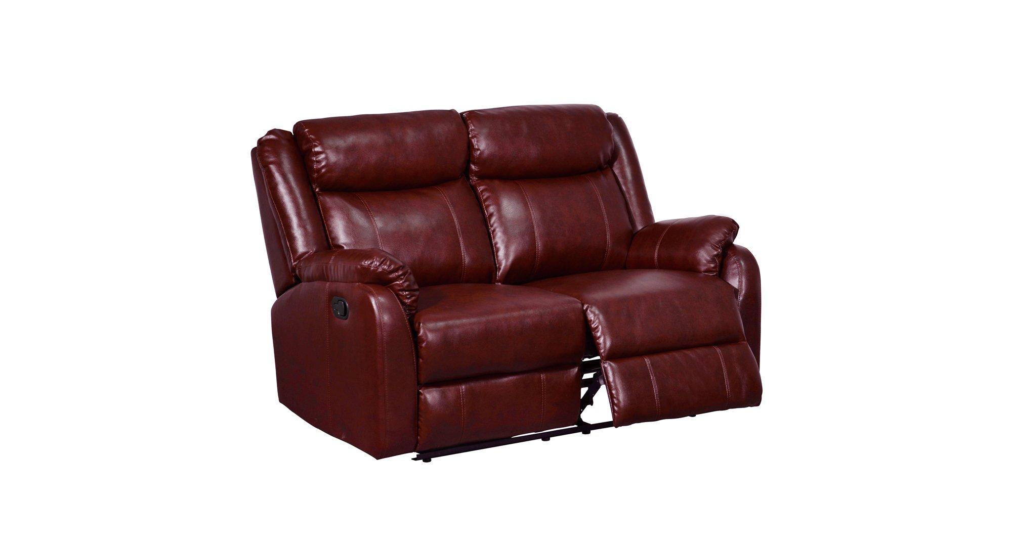 U9303 Burgundy Pu Reclining Loveseat By Global Furniture