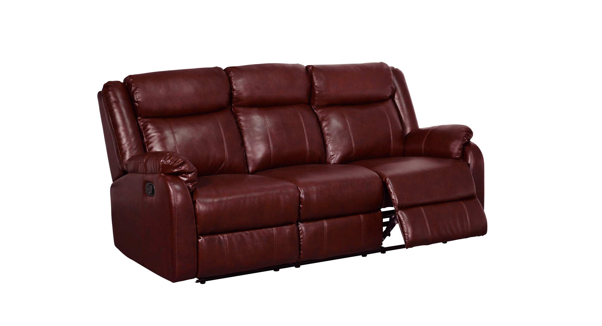 U9303 Burgundy PU Reclining Sofa by Global Furniture