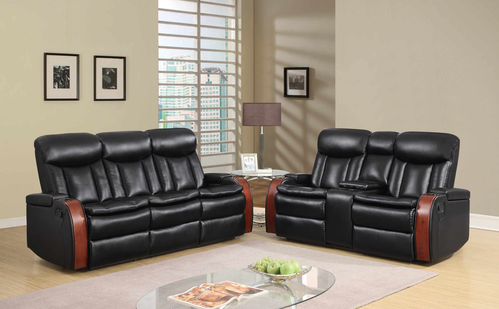 U9673 Black Leather Gel Reclining Sofa by Global Furniture