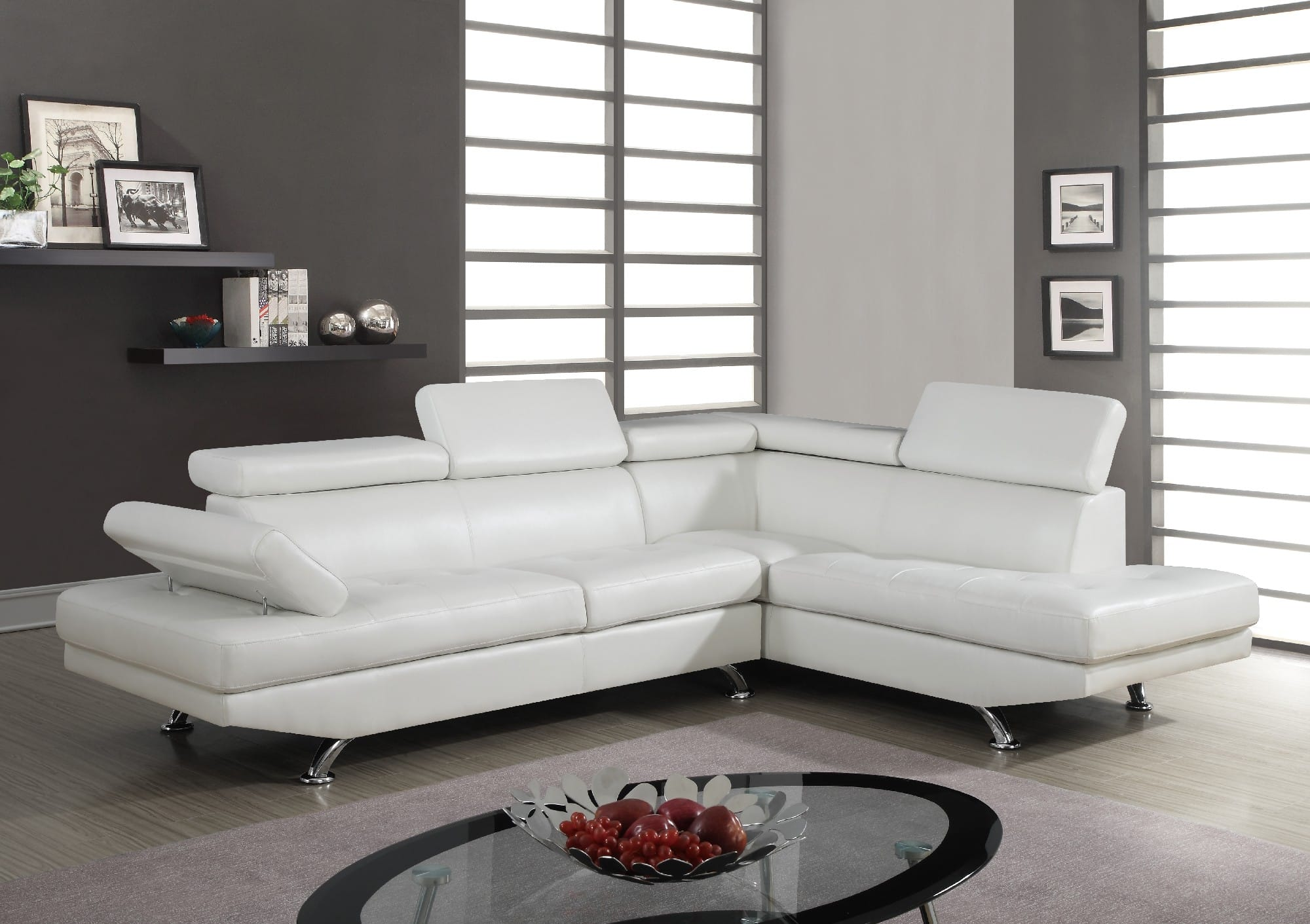 White Pu Sectional Sofa By Global Furniture