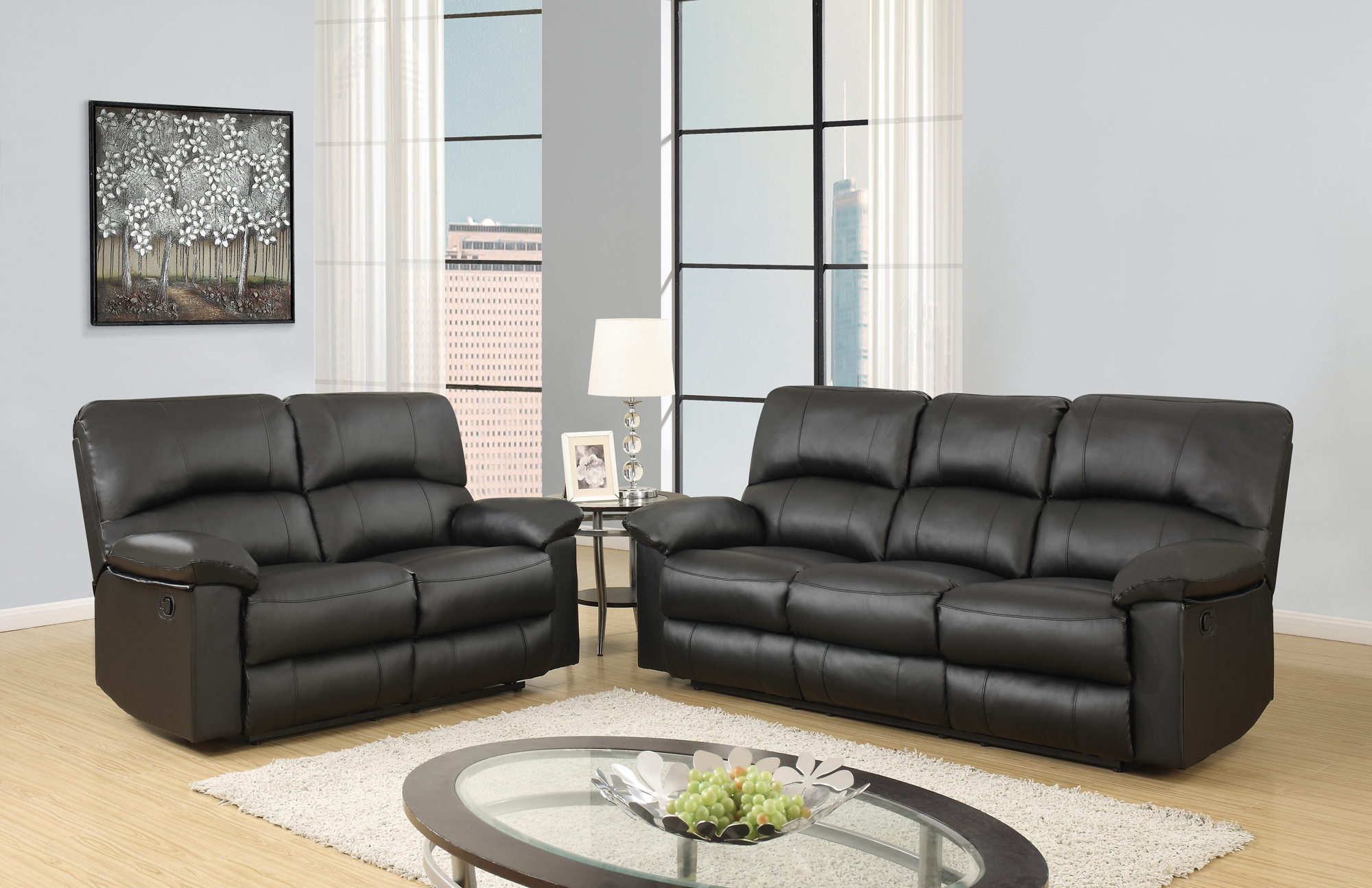 U Black PU Reclining Sofa by Global Furniture