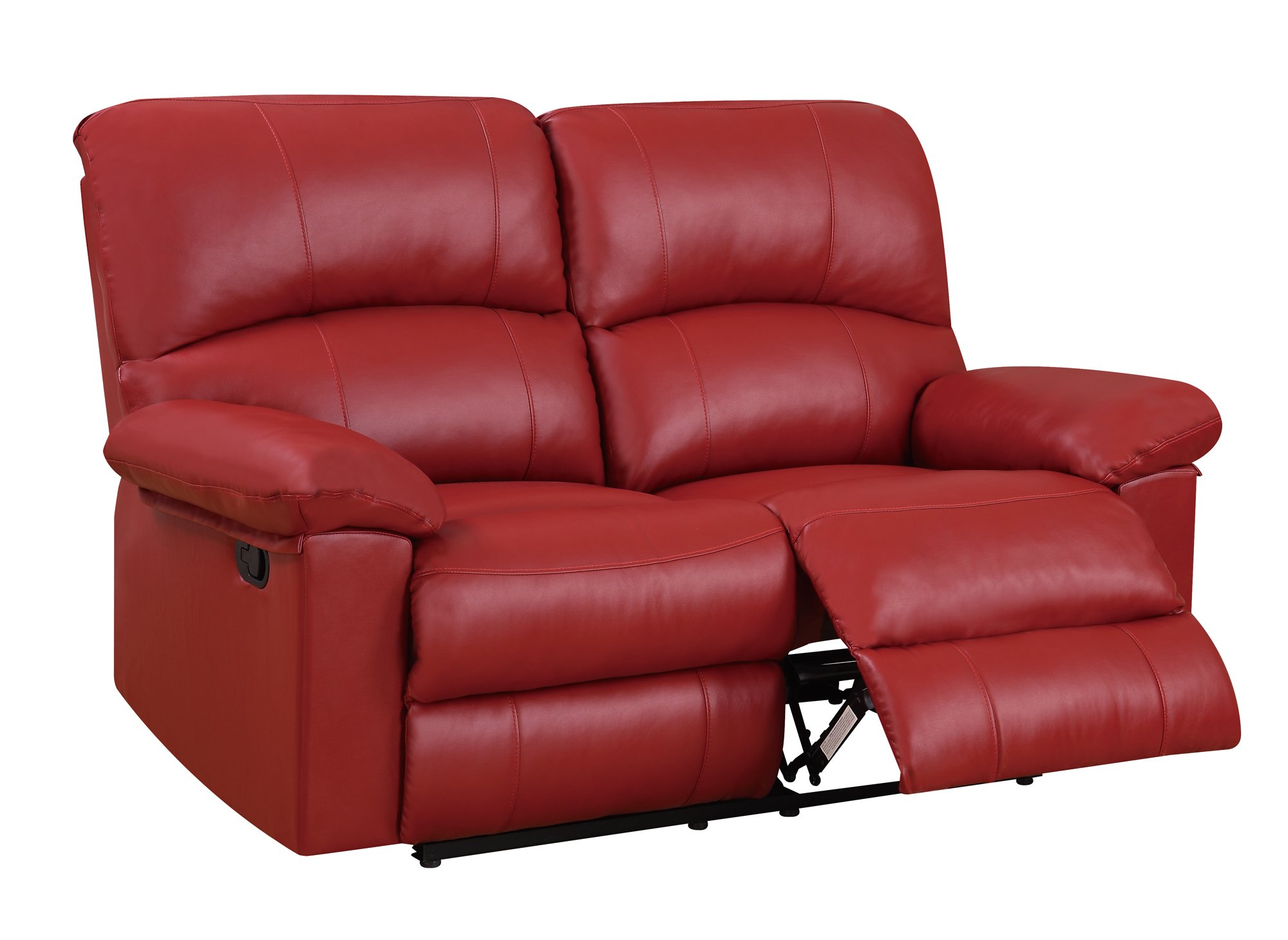 U99270 red pu reclining loveseat by global furniture Red sofas and loveseats