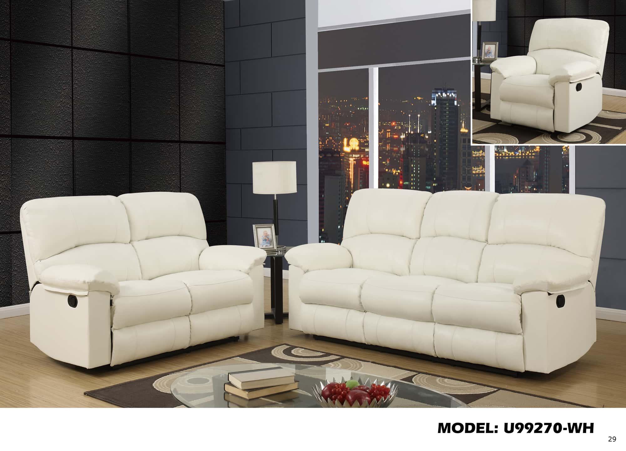 u99270 white reclining loveseat by global furniture. Black Bedroom Furniture Sets. Home Design Ideas