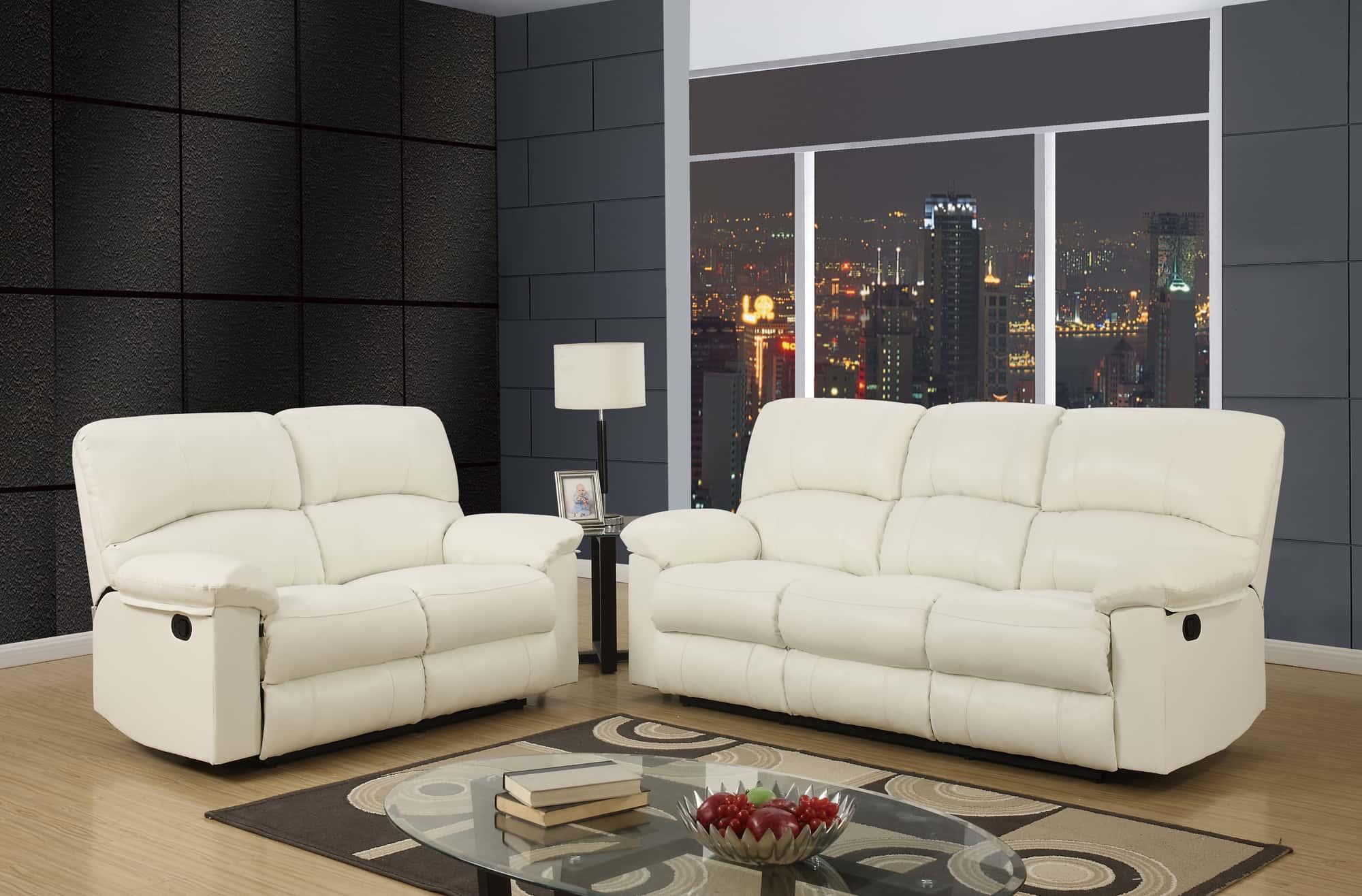 U White Reclining Sofa by Global Furniture