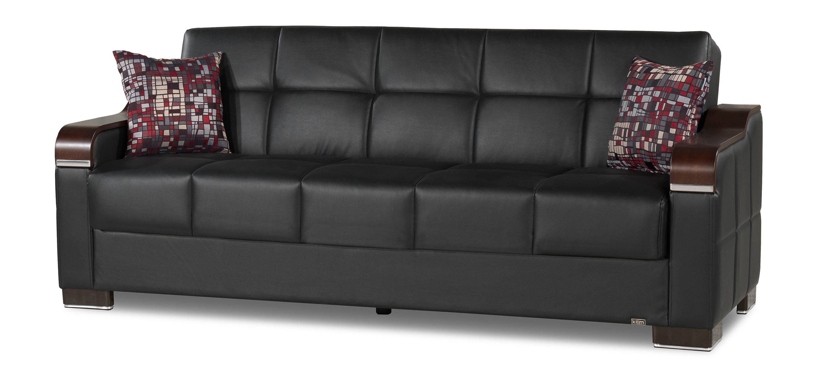 Uptown Black PU Leather Convertible Sofa by Casamode