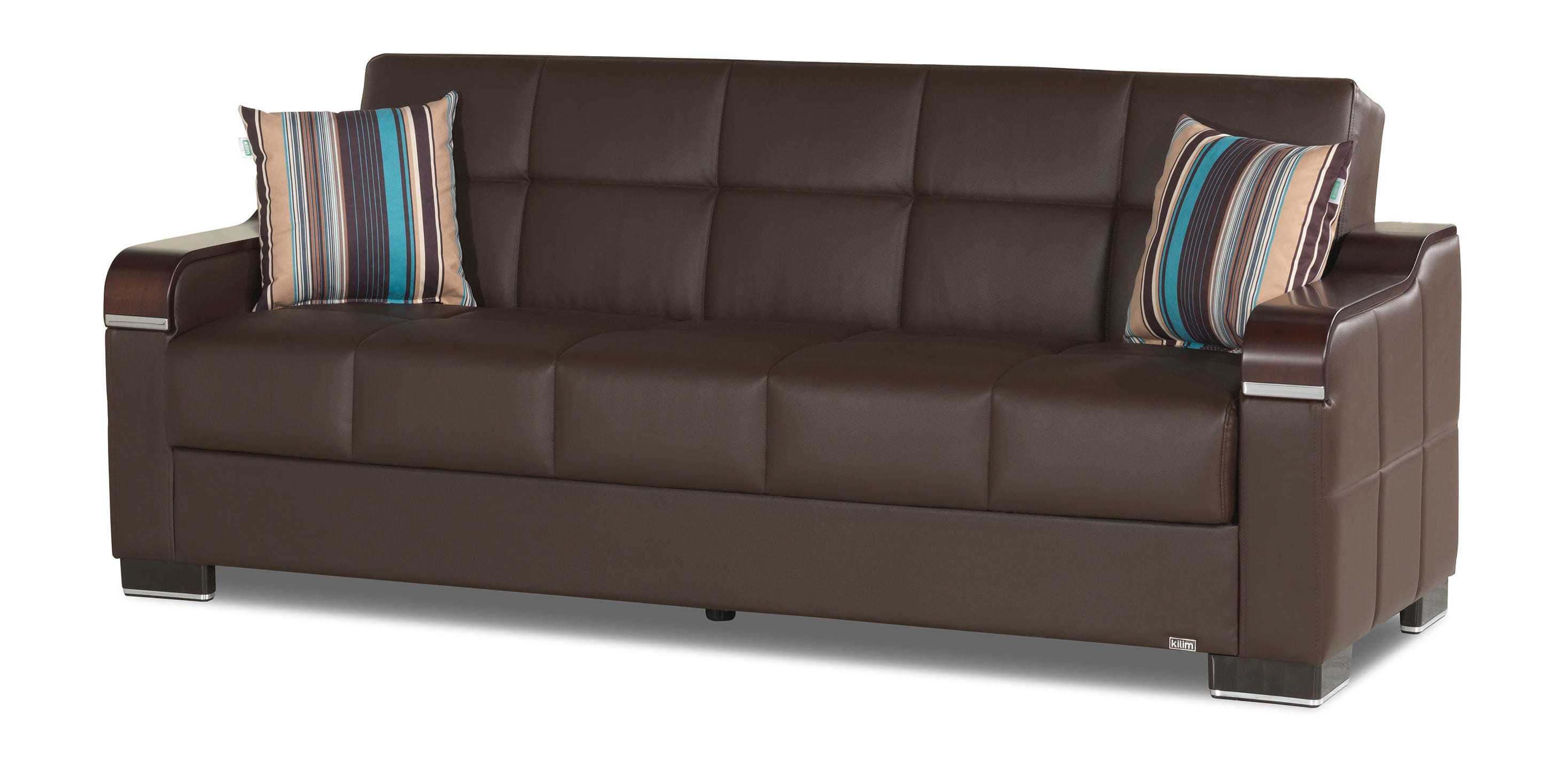 Uptown Brown Leatherette Convertible Sofa by Casamode