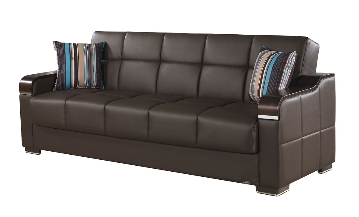 Uptown Brown Leather Textile Convertible Sofa Bed by Casamode