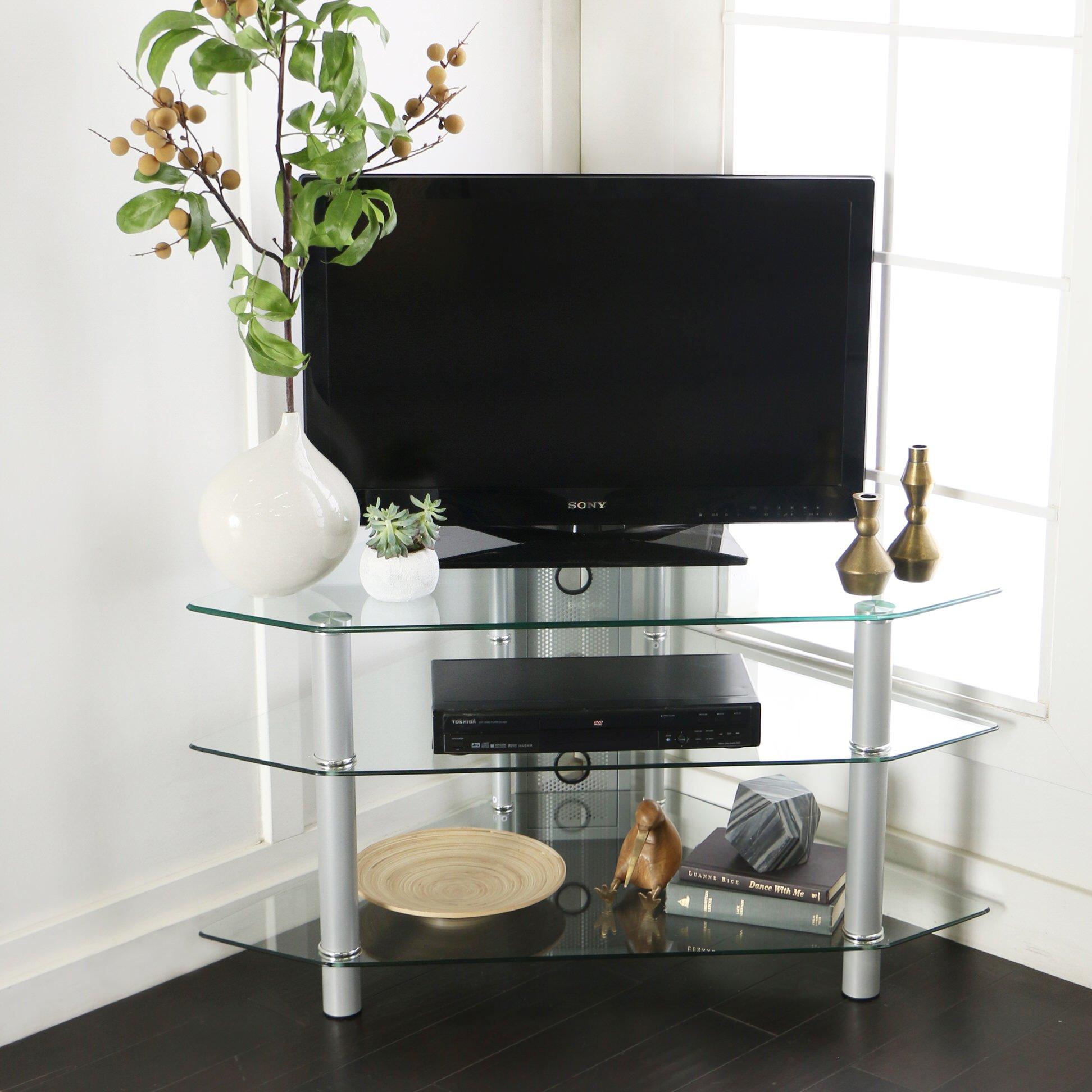 Bermuda 44 Inch Corner Glass Tv Stand Silver By Walker