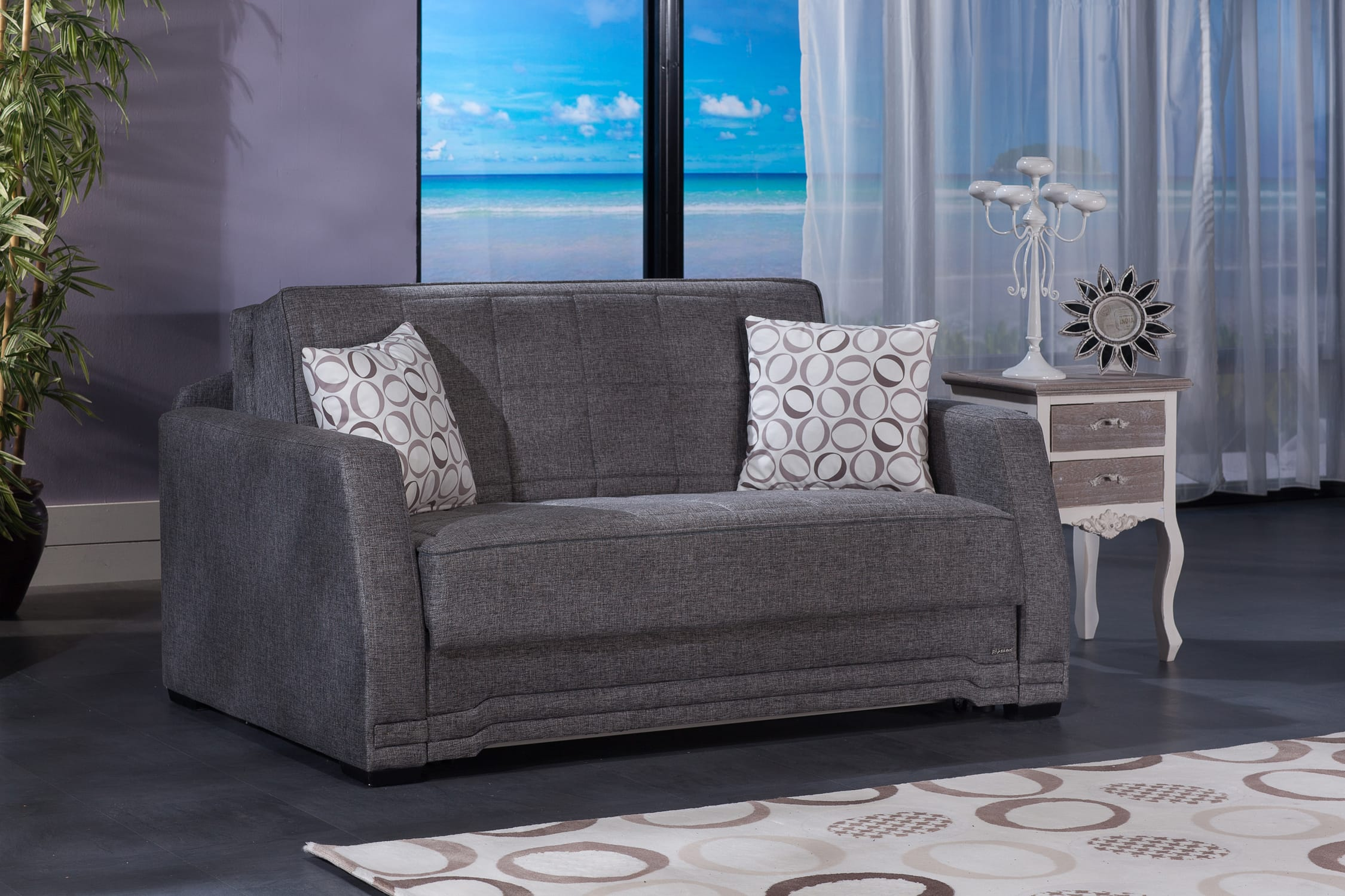 Valerie Diego Gray Loveseat Sleeper By Istikbal Sunset