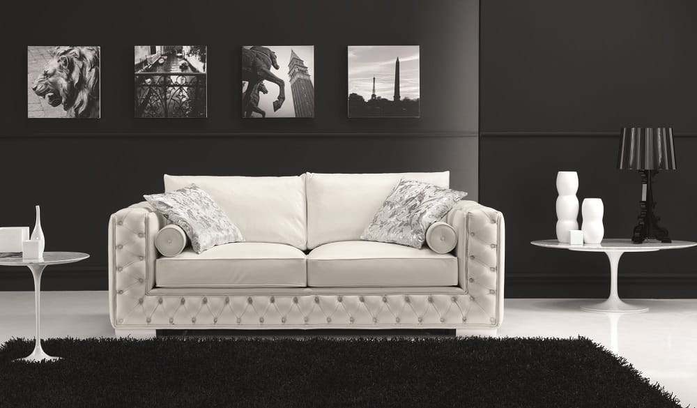 The Vanity Leather Sofa White By J M Furniture
