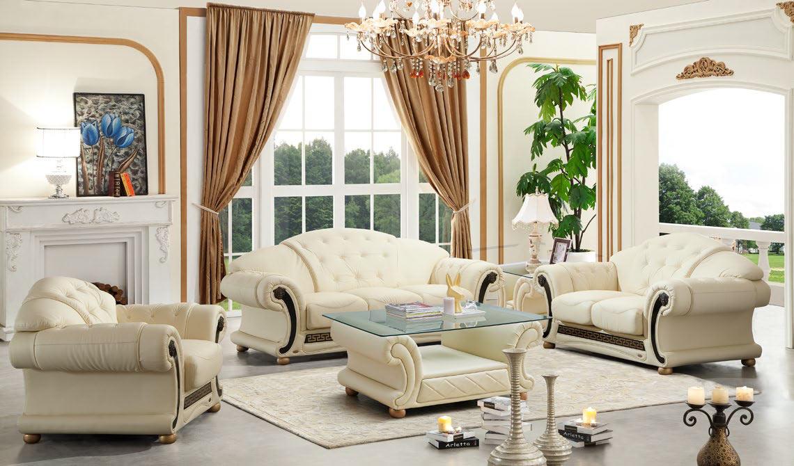 Super Versace Ivory Leather Sofa Set By Esf Uwap Interior Chair Design Uwaporg