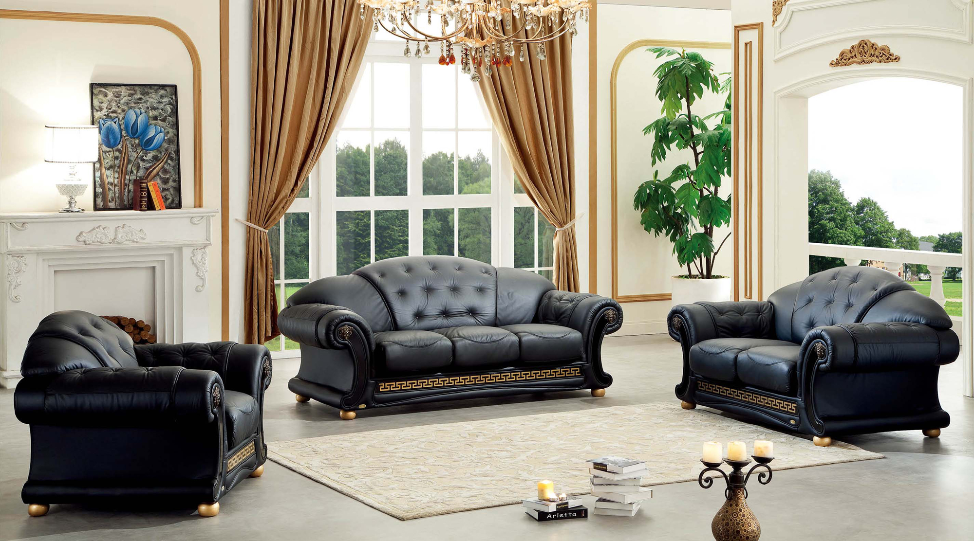 Versace Leather Sofa Set by ESF