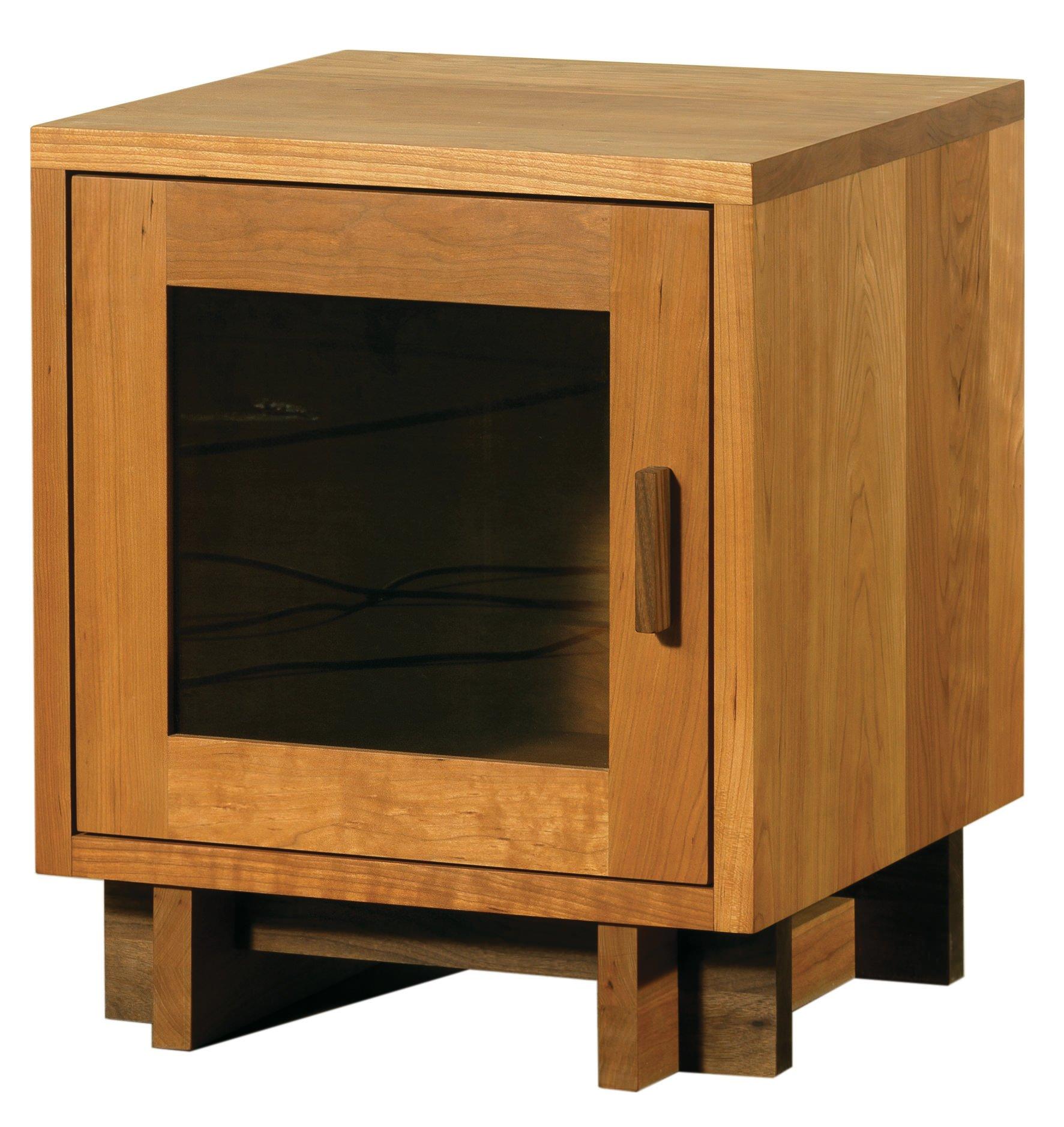 Skyline Wood Nightstand W Glass Door By Vermont Handcrafted Furniture
