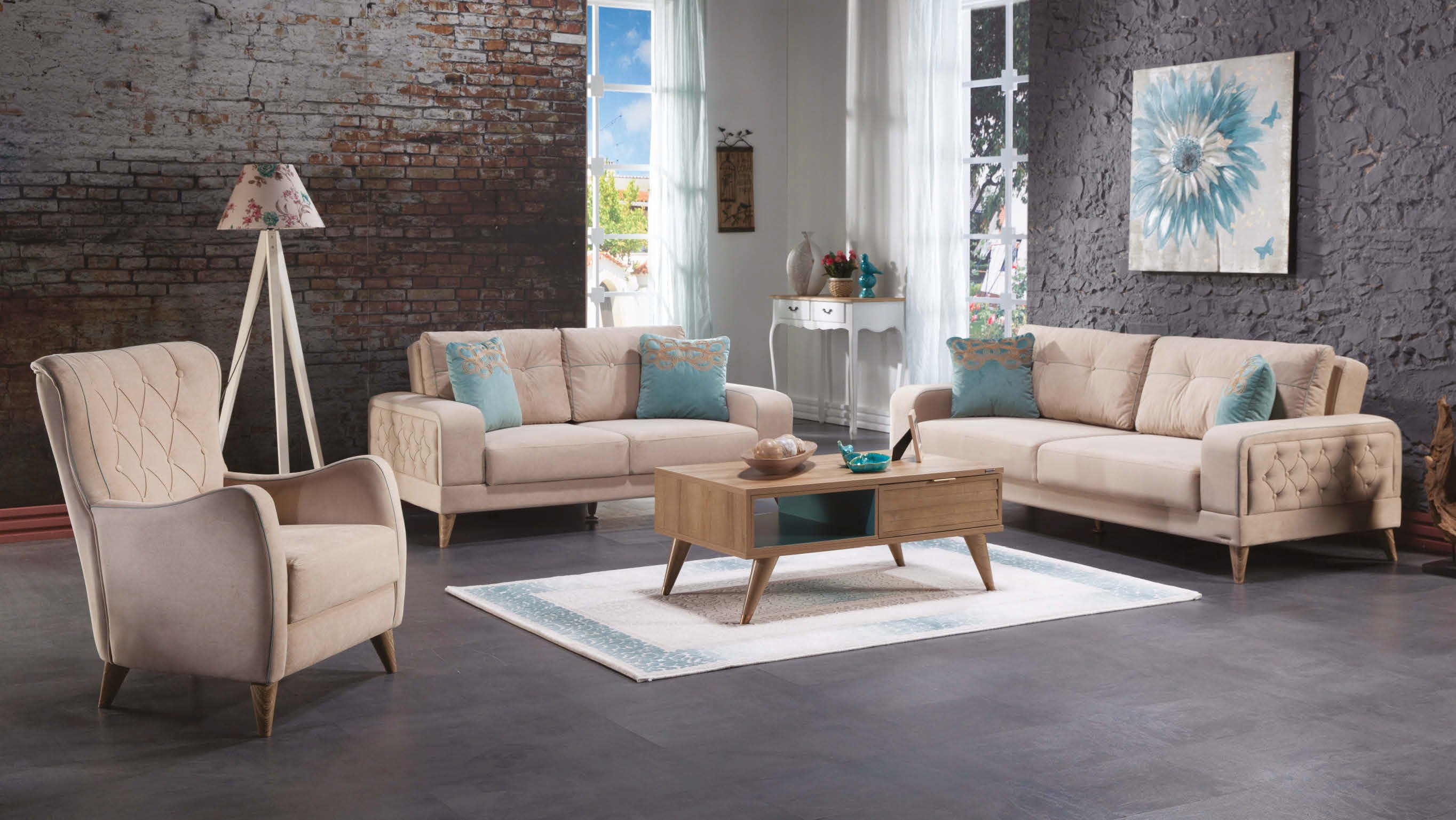 . Vienza Lilyum Cream Sofa  Love   Chair Set by Sunset