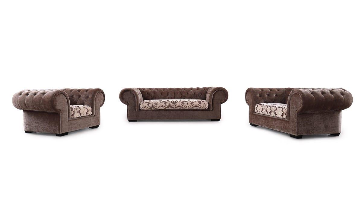 Divani Casa Metropolitan Transitional Brown Fabric Tufted Sofa Set by VIG  Furniture