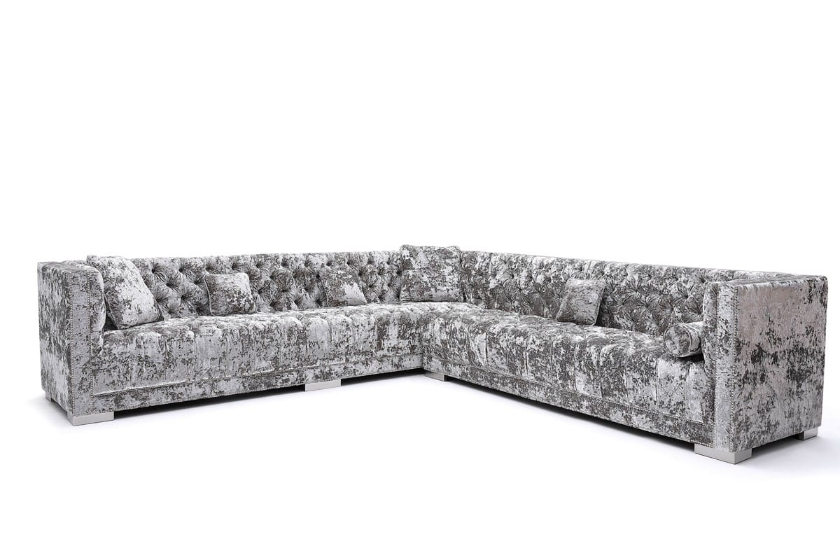 Grey Crushed Velvet Sectional Sofa
