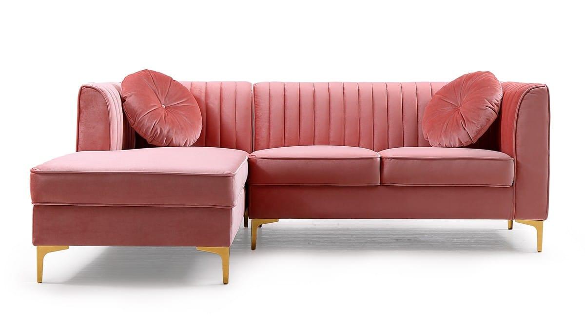 Picture of: Divani Casa Rachel Modern Pink Velvet Sectional Sofa By Vig Furniture