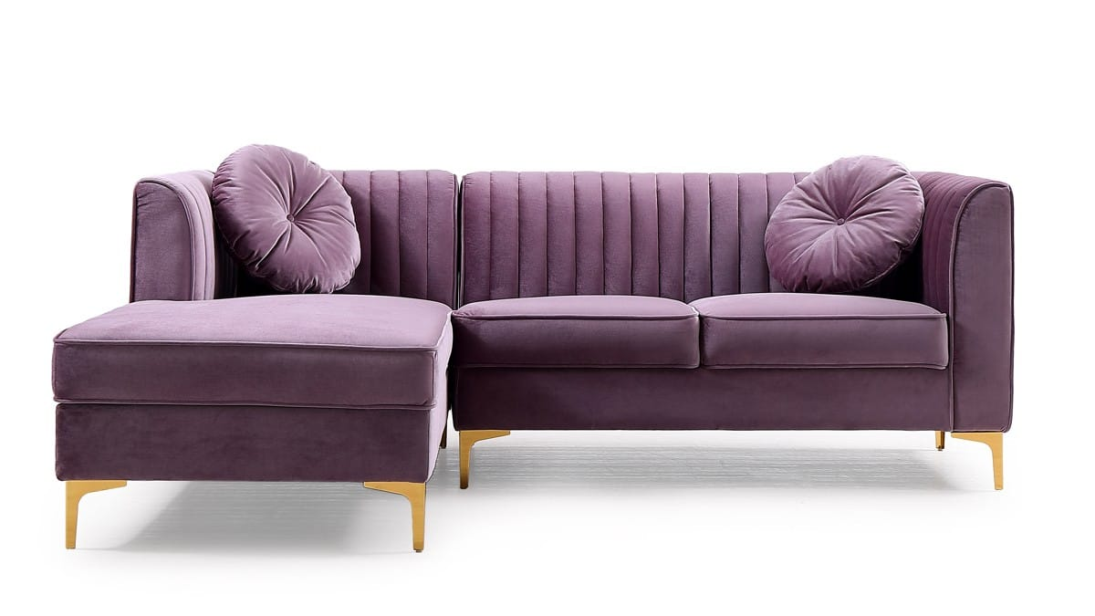 Modrest Rachel Modern Purple Velvet Sectional Sofa By Vig Furniture