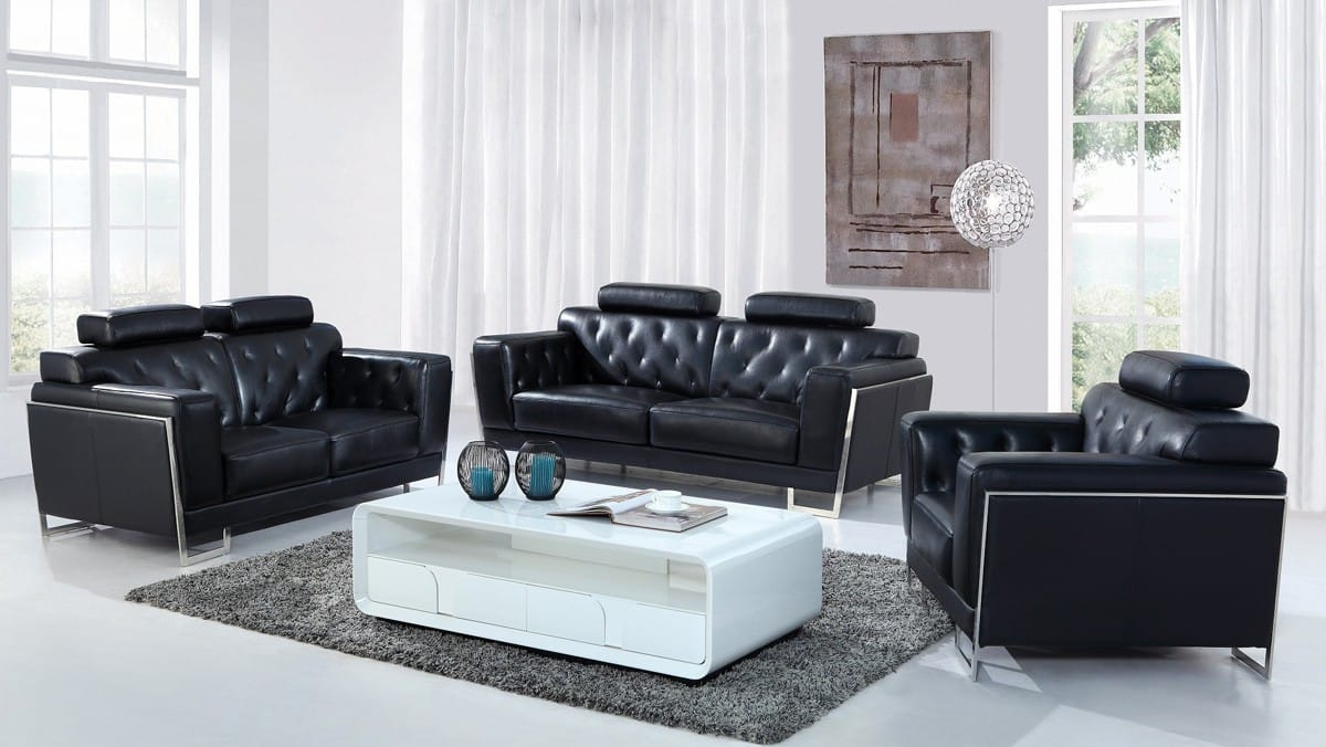 Black Leather Sofa Set By Vig Furniture