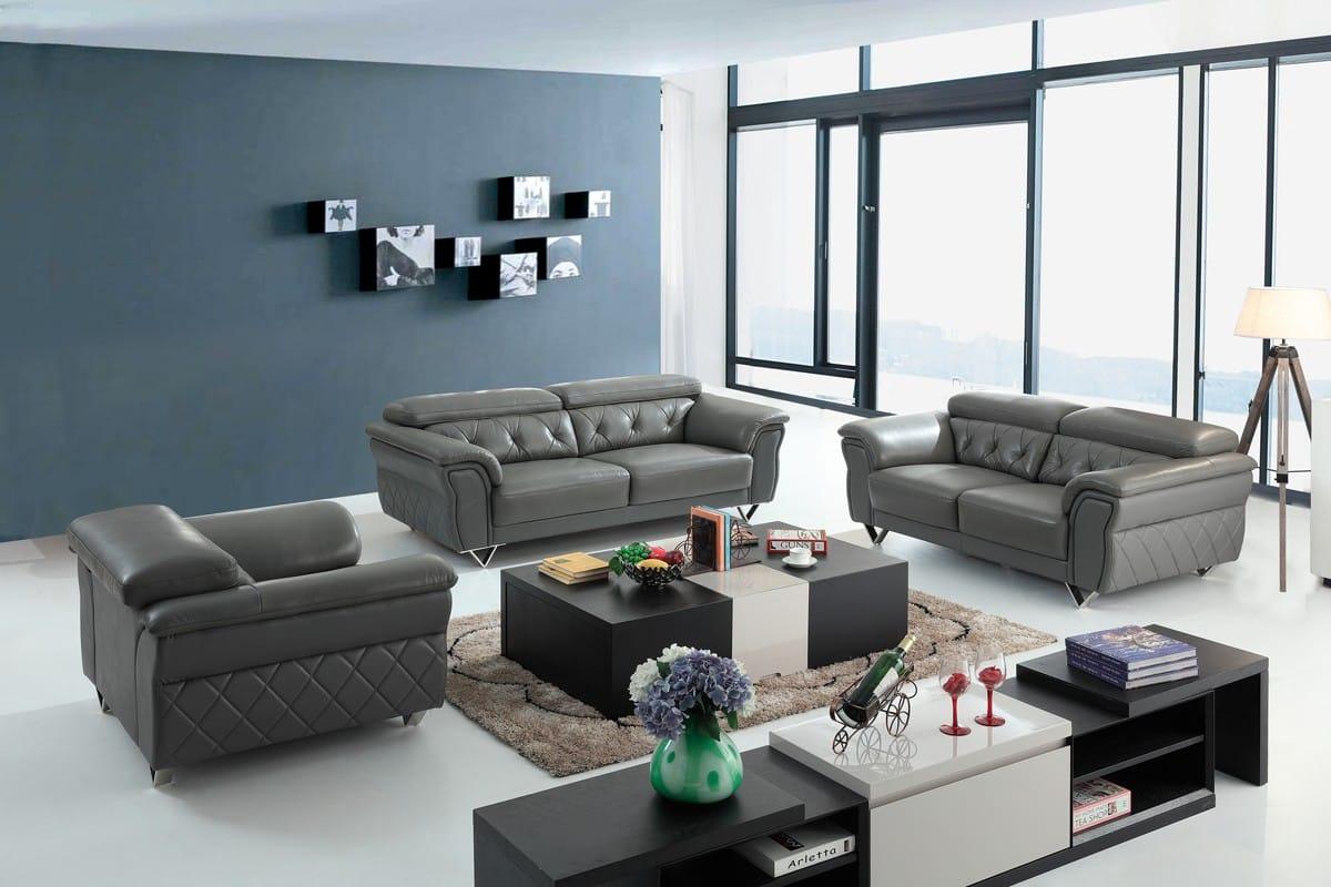 Grey Leather Sofa Set By Vig Furniture