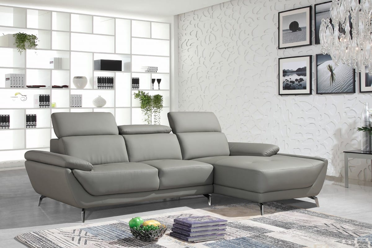 Divani Casa Sterling Modern Grey Eco Leather Sectional Sofa By Vig Furniture